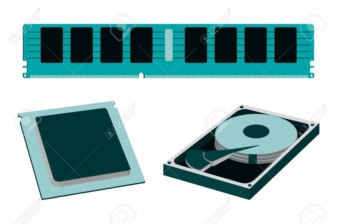 cartoon parts for personal pc icon hdd ram and cpu vector royalty free cliparts vectors and stock illustration image 82595415 cartoon parts for personal pc icon hdd ram and cpu vector