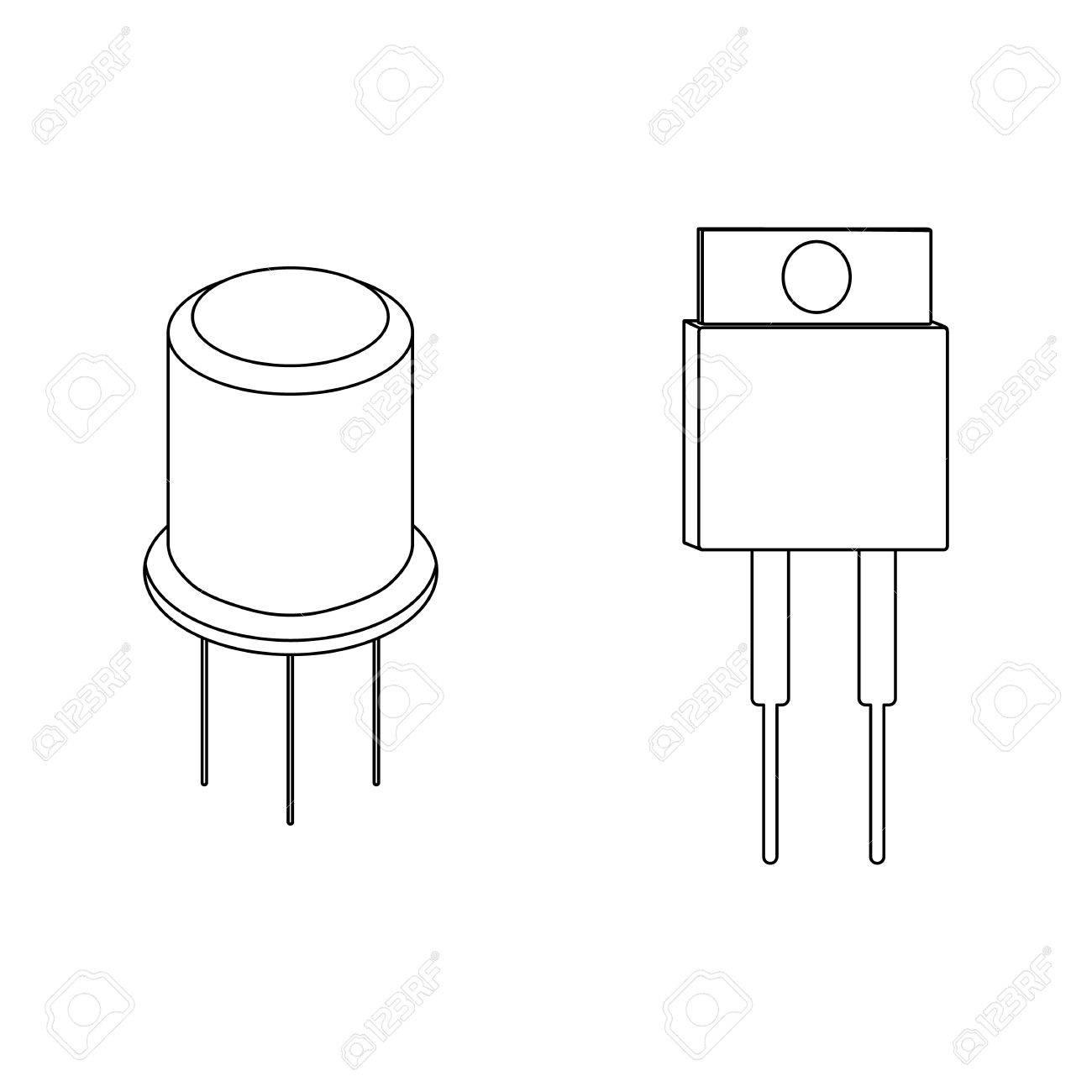 Circuito Transistor : Iconos del esquema del transistor. ilustración del vector