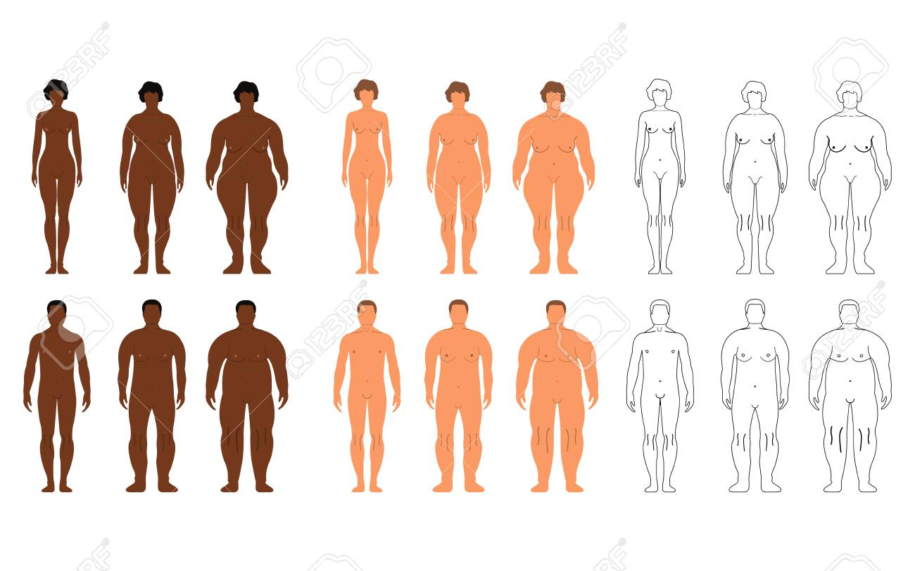 African and European Women and Men. Cartoon, Outline style. Human front side Silhouette. Isolated on White Background. Vector illustration. - 91871958