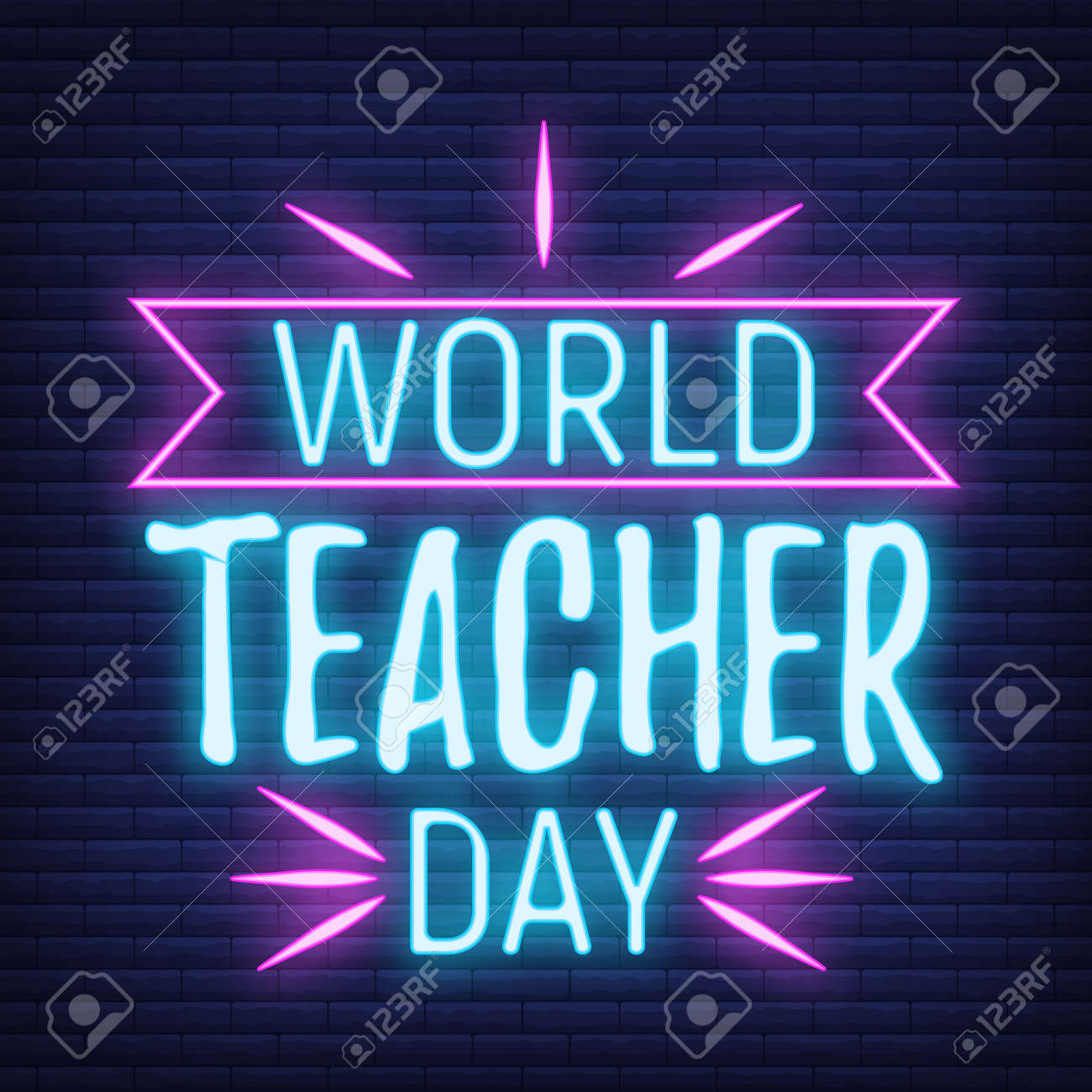 Concept neon best teacher day holiday font text quote, calligraphic inspiration celebration card flat vector illustration, decoration design label. World holiday, web banner internet page. - 166412681