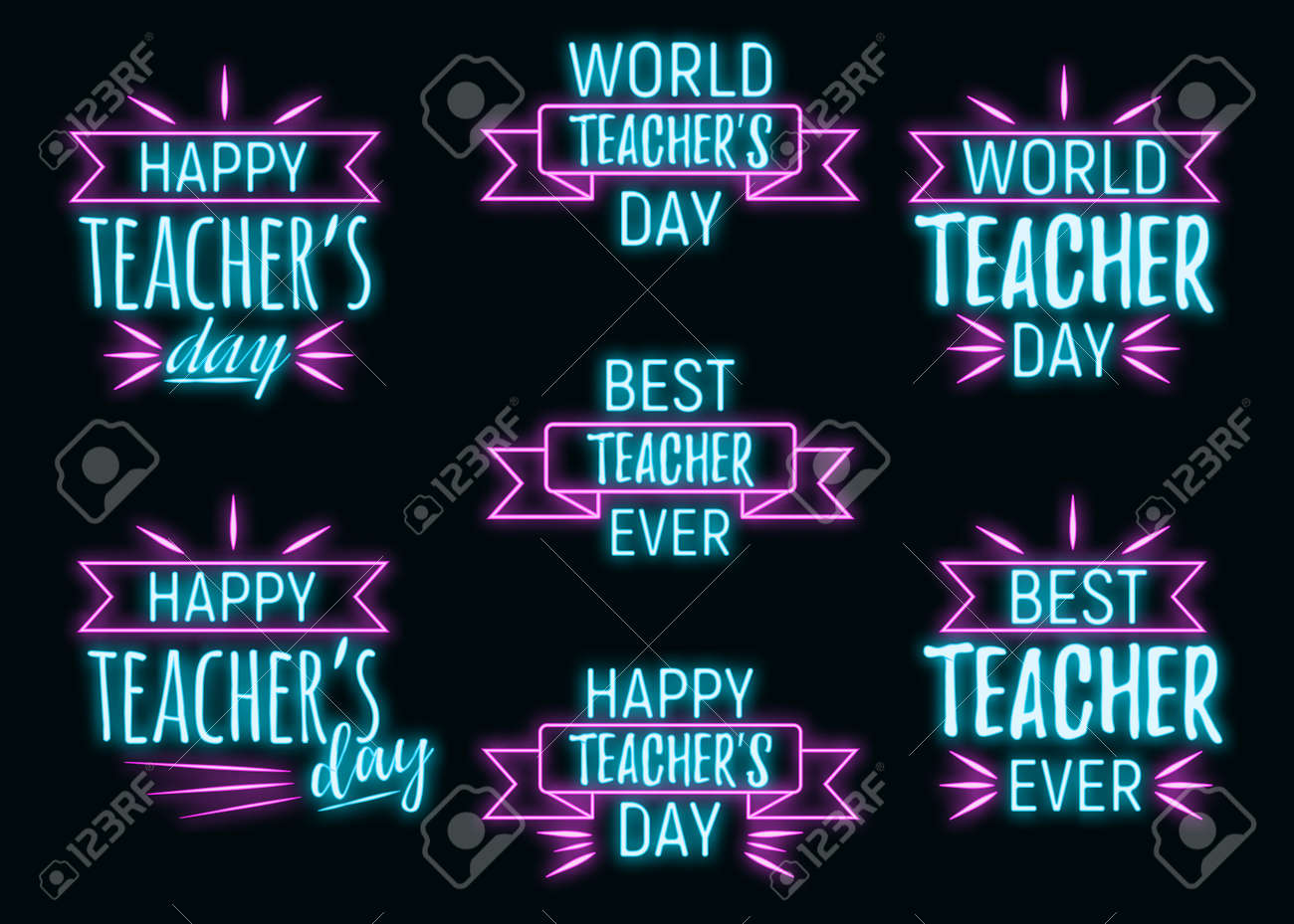 Concept neon best teacher day holiday font text quote, calligraphic inspiration celebration card flat vector illustration, decoration design label. World holiday, web banner internet page. - 166412696