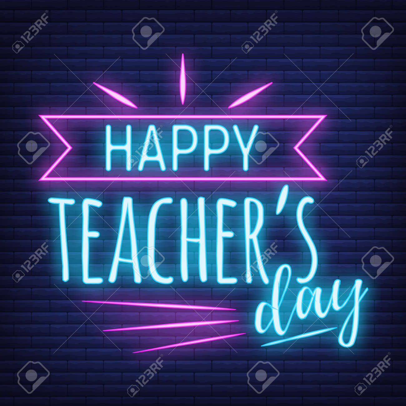 Concept neon best teacher day holiday font text quote, calligraphic inspiration celebration card flat vector illustration, decoration design label. World holiday, web banner internet page. - 166412712
