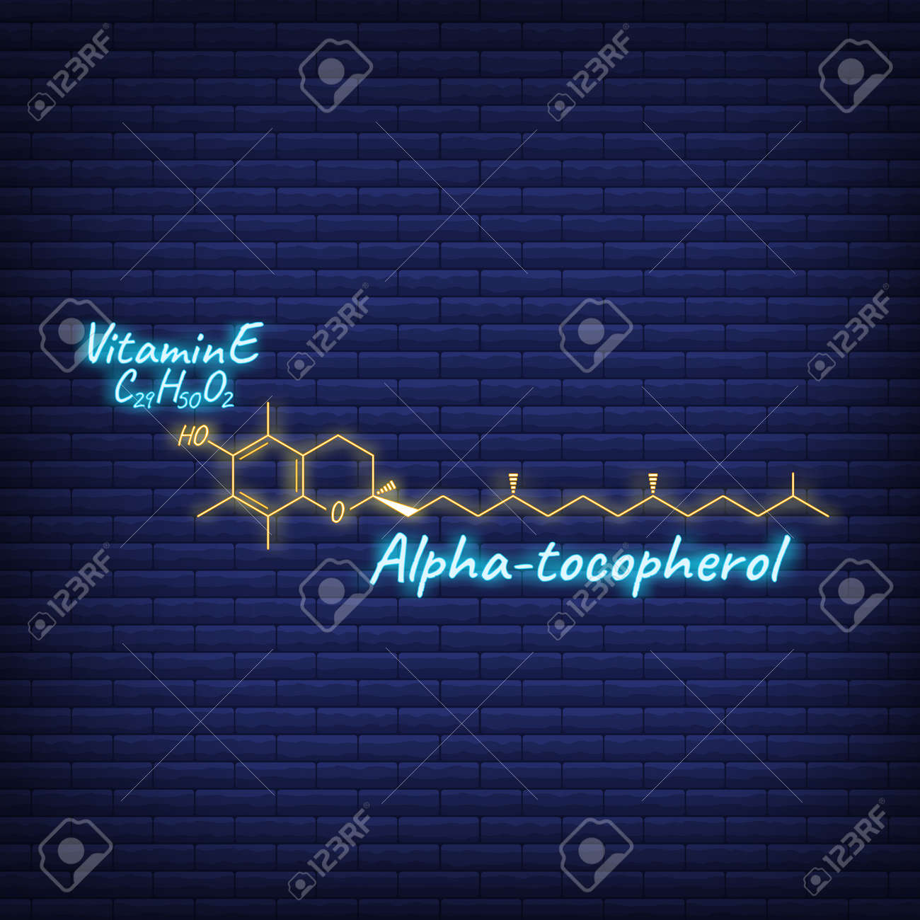 Vitamin E, Alpha Tocopherol Label and Icon glow neon style. Vector Illustration isolated on wall background. Chemical Formula and Structure. - 166412722