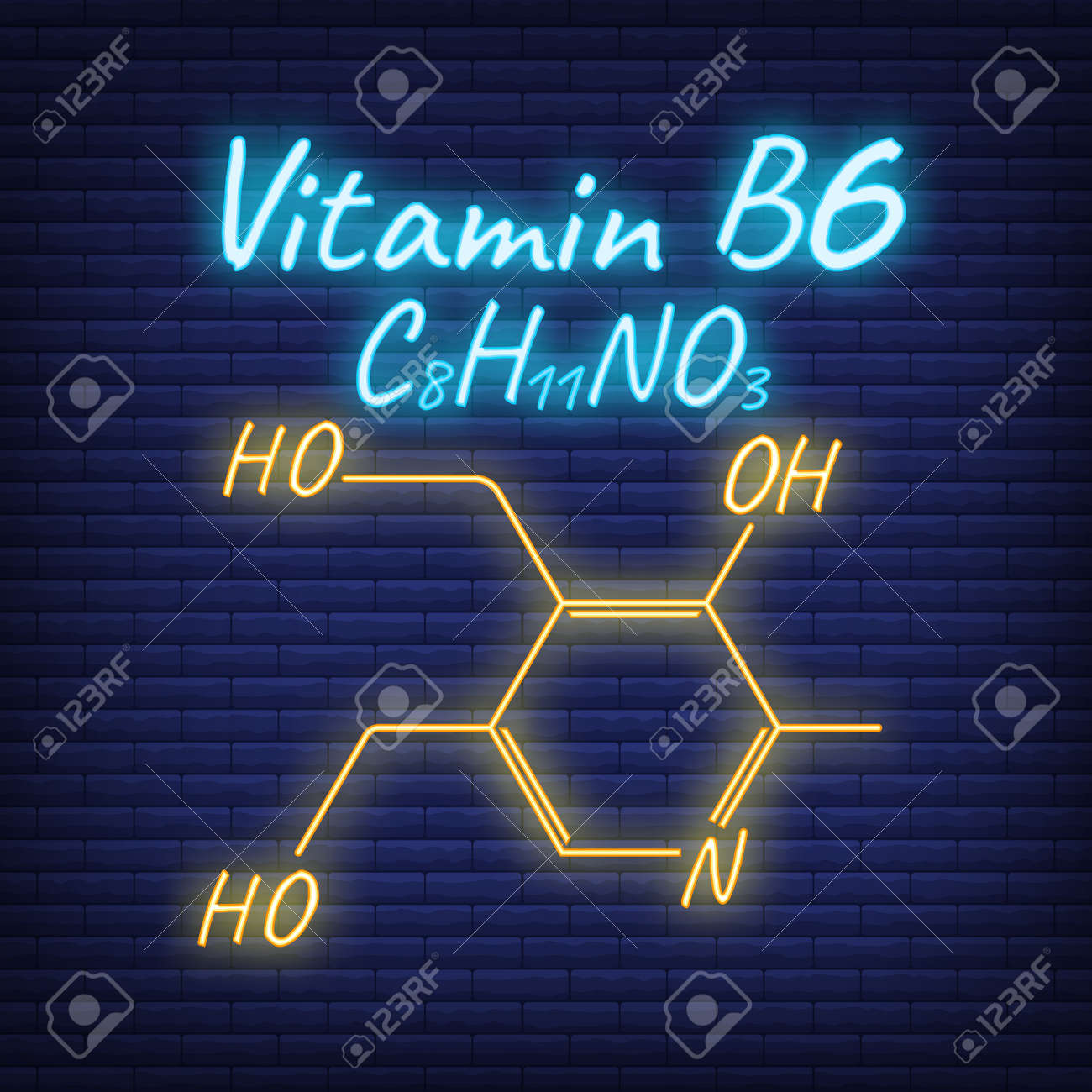 Vitamin B6 Label and Icon glow neon style. Vector Illustration isolated on wall background. Chemical Formula and Structure. - 166412731