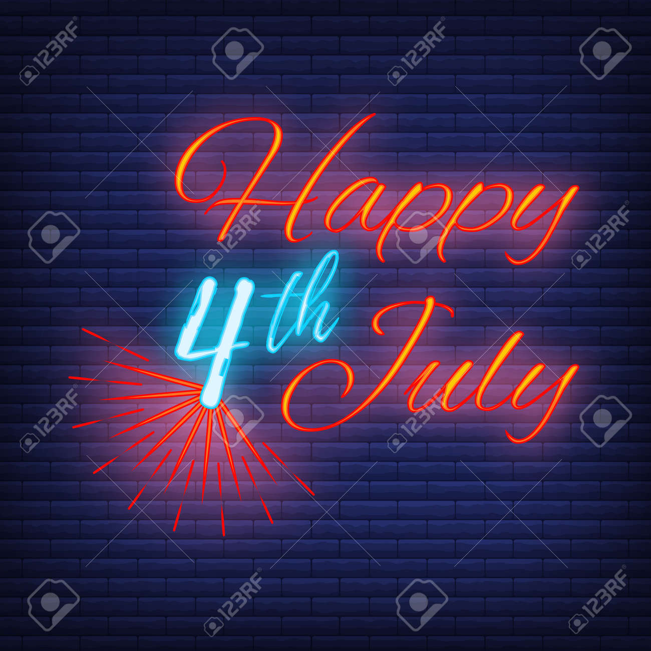 Happy celebration greeting card 4 th July, concept glow neon style font text Independence Day quote phrase vector illustration on black wall background. - 167323956