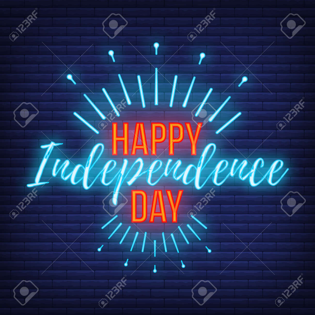 Happy celebration greeting card 4 th July, concept glow neon style font text Independence Day quote phrase vector illustration on black wall background. - 167324101