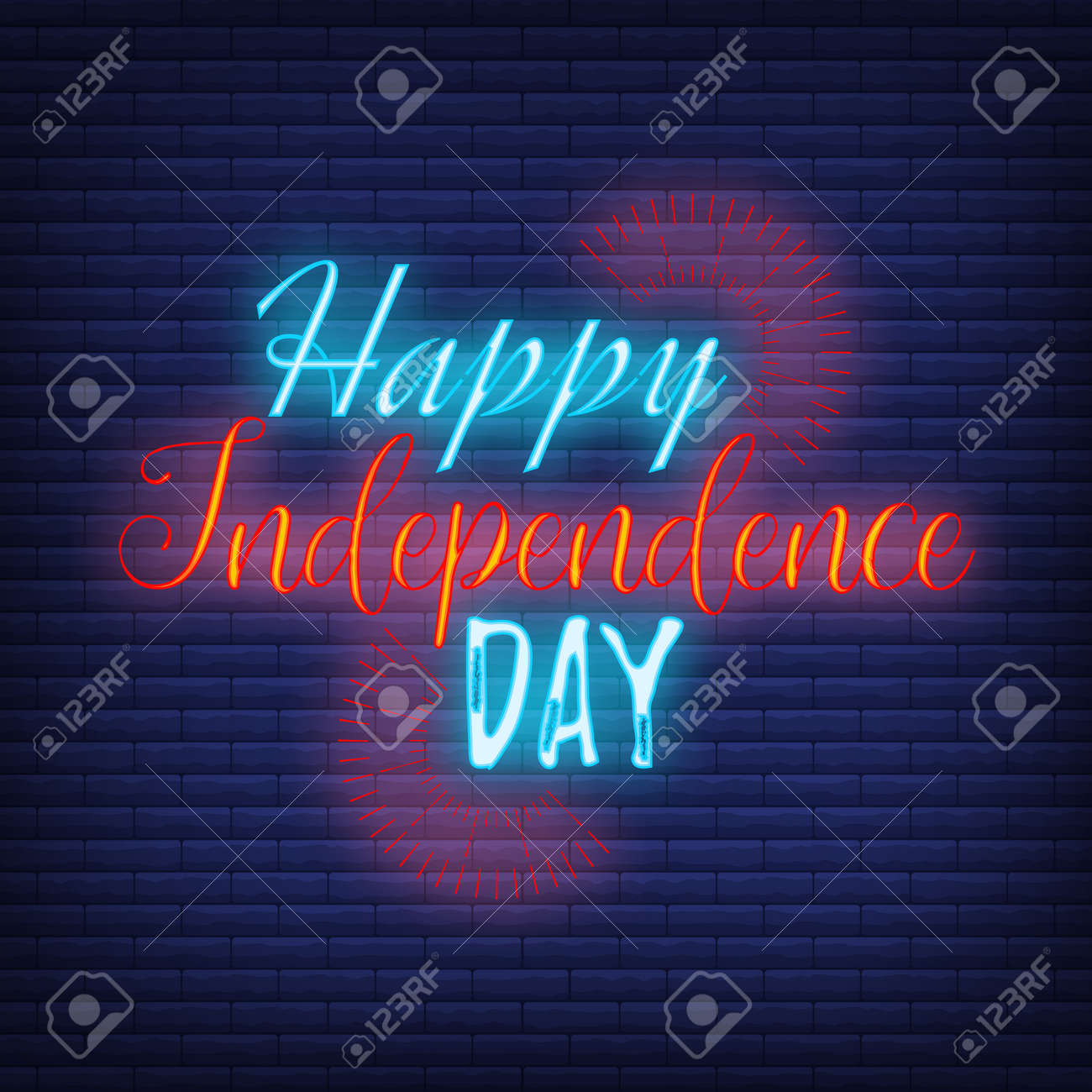 Happy celebration greeting card 4 th July, concept glow neon style font text Independence Day quote phrase vector illustration on black wall background. - 167324084