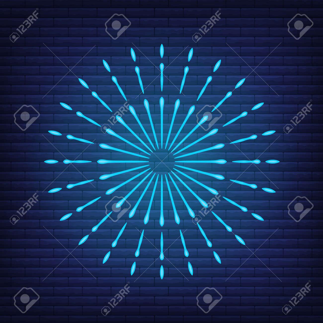 Retro design light sunburst neon style glow geometric shape, vintage rays sunlight explosion icon concept vector illustration, isolated on black wall. Minimal blue firework burst label, sunbeam badge. - 168394773