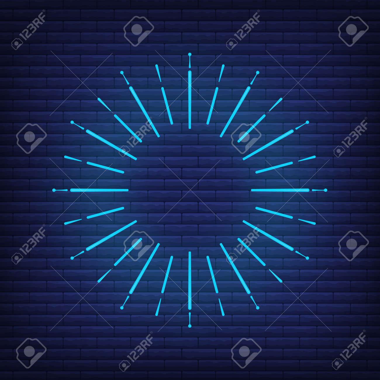 Retro design light sunburst neon style glow geometric shape, vintage rays sunlight explosion icon concept vector illustration, isolated on black wall. Minimal blue firework burst label, sunbeam badge. - 168394783