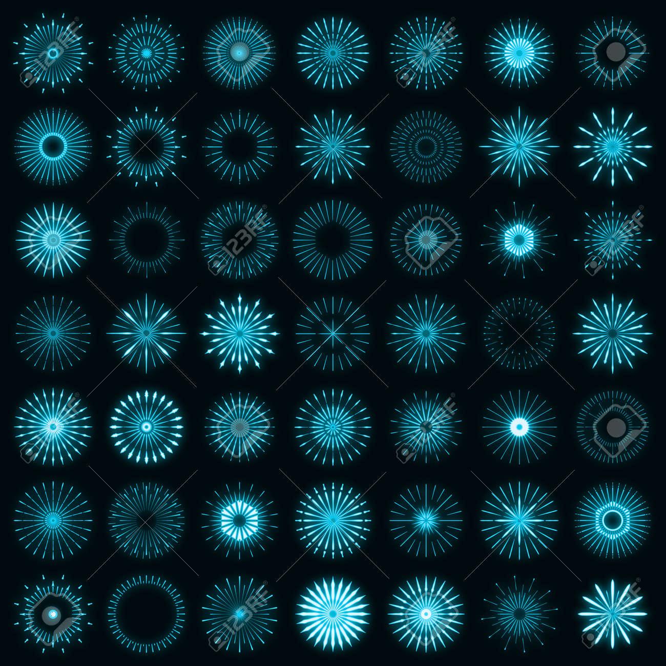 Retro set of light sunburst neon style glow geometric shape, vintage rays sunlight explosion icon concept vector illustration, isolated on black wall. Minimal blue firework burst label, sunbeam badge. - 168394789