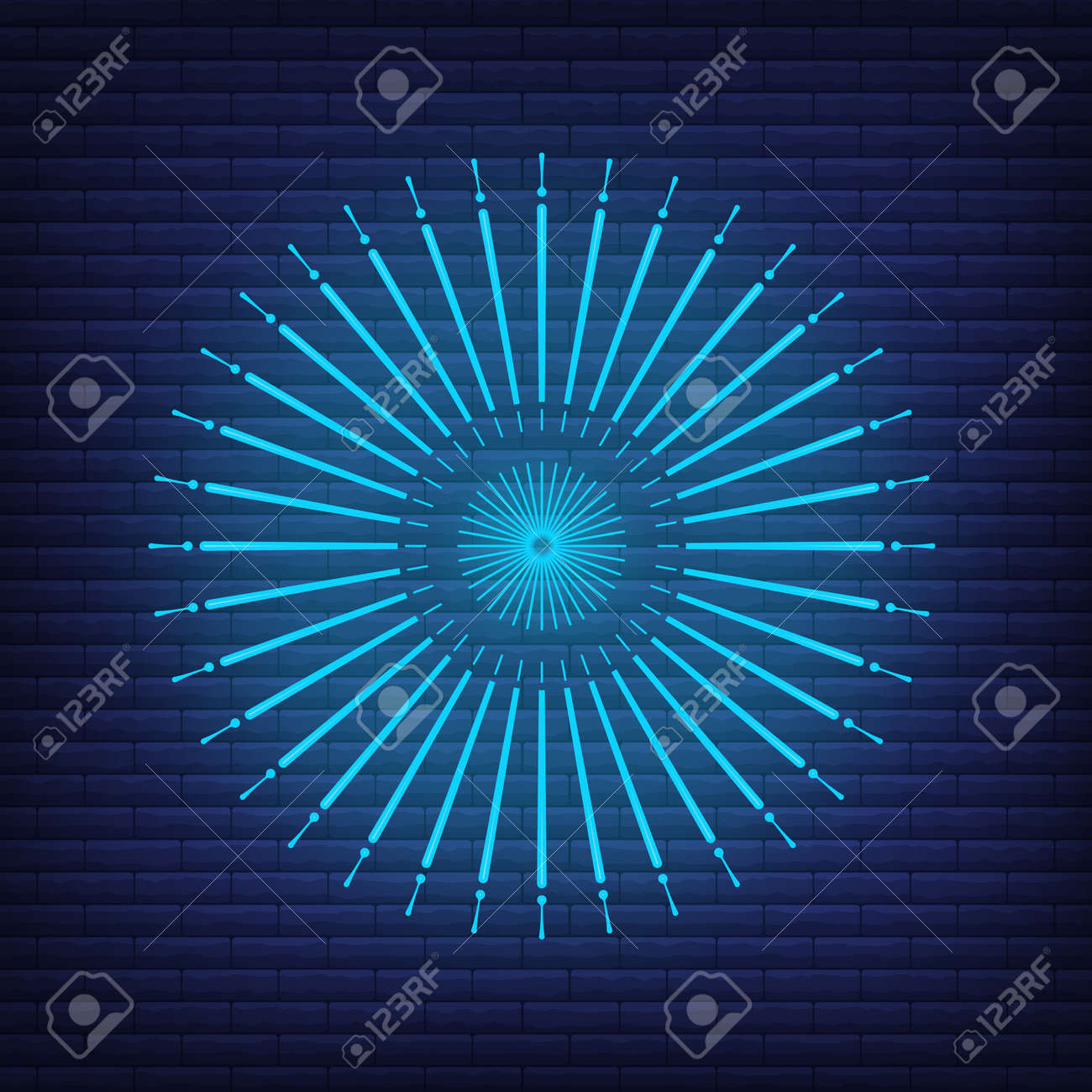 Retro design light sunburst neon style glow geometric shape, vintage rays sunlight explosion icon concept vector illustration, isolated on black wall. Minimal blue firework burst label, sunbeam badge. - 168394795