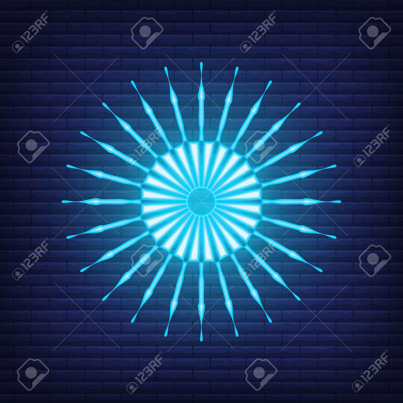 Retro design light sunburst neon style glow geometric shape, vintage rays sunlight explosion icon concept vector illustration, isolated on black wall. Minimal blue firework burst label, sunbeam badge. - 168394798