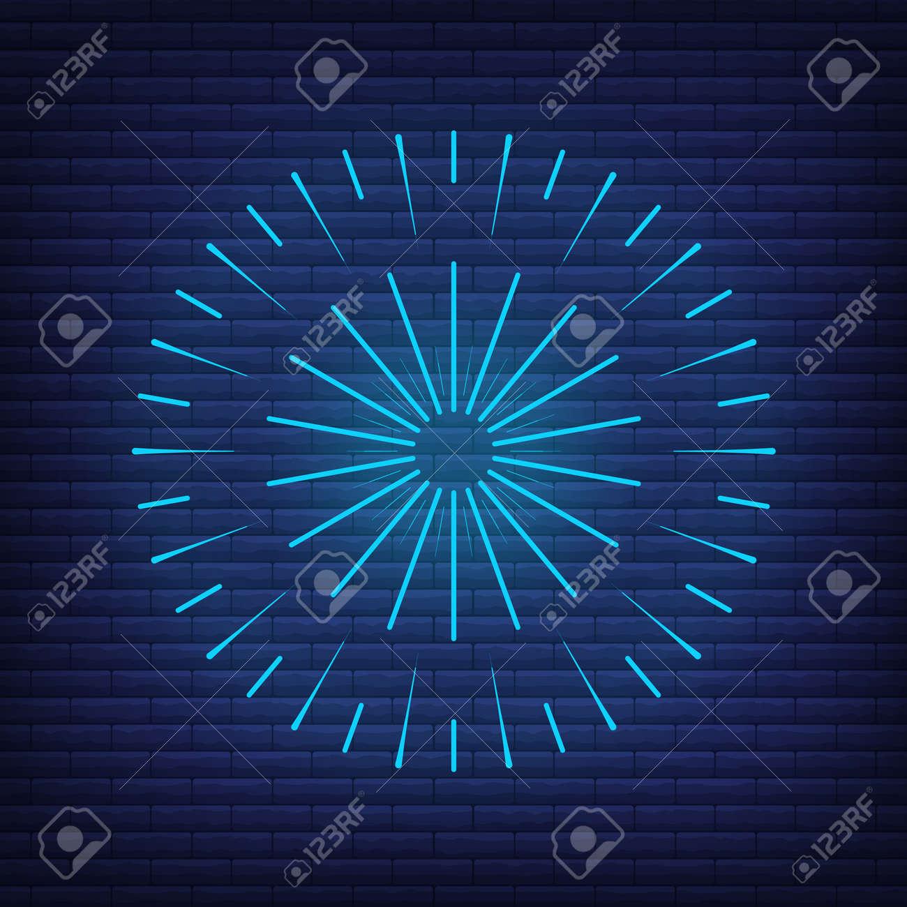 Retro design light sunburst neon style glow geometric shape, vintage rays sunlight explosion icon concept vector illustration, isolated on black wall. Minimal blue firework burst label, sunbeam badge. - 168394800