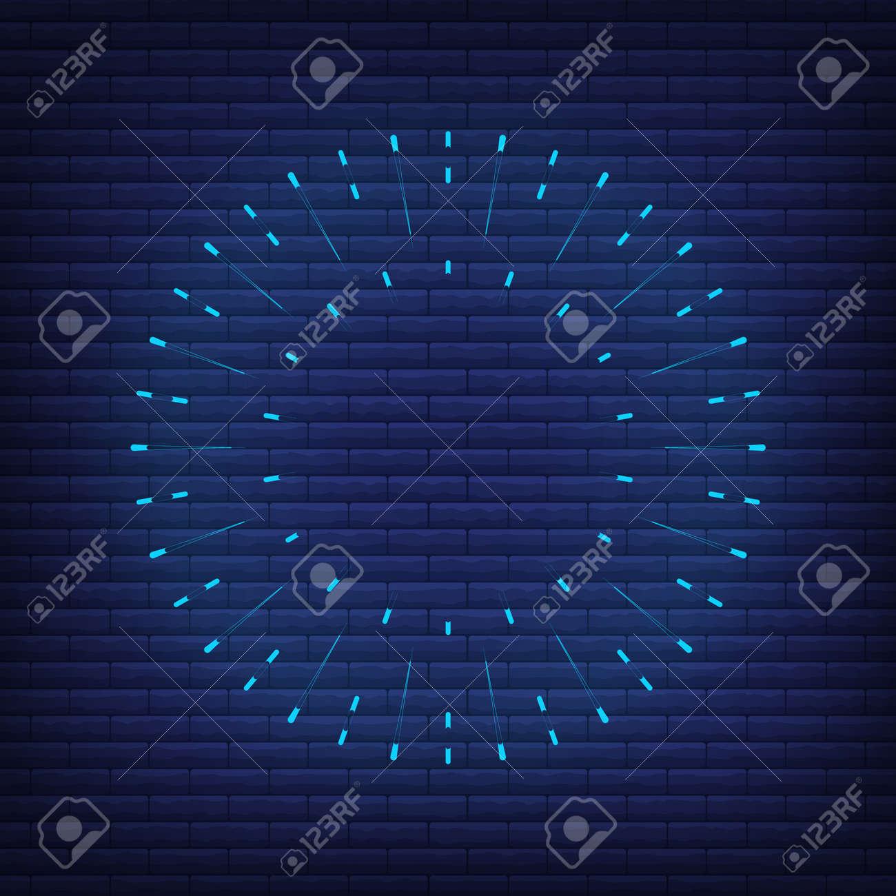 Retro design light sunburst neon style glow geometric shape, vintage rays sunlight explosion icon concept vector illustration, isolated on black wall. Minimal blue firework burst label, sunbeam badge. - 168394801