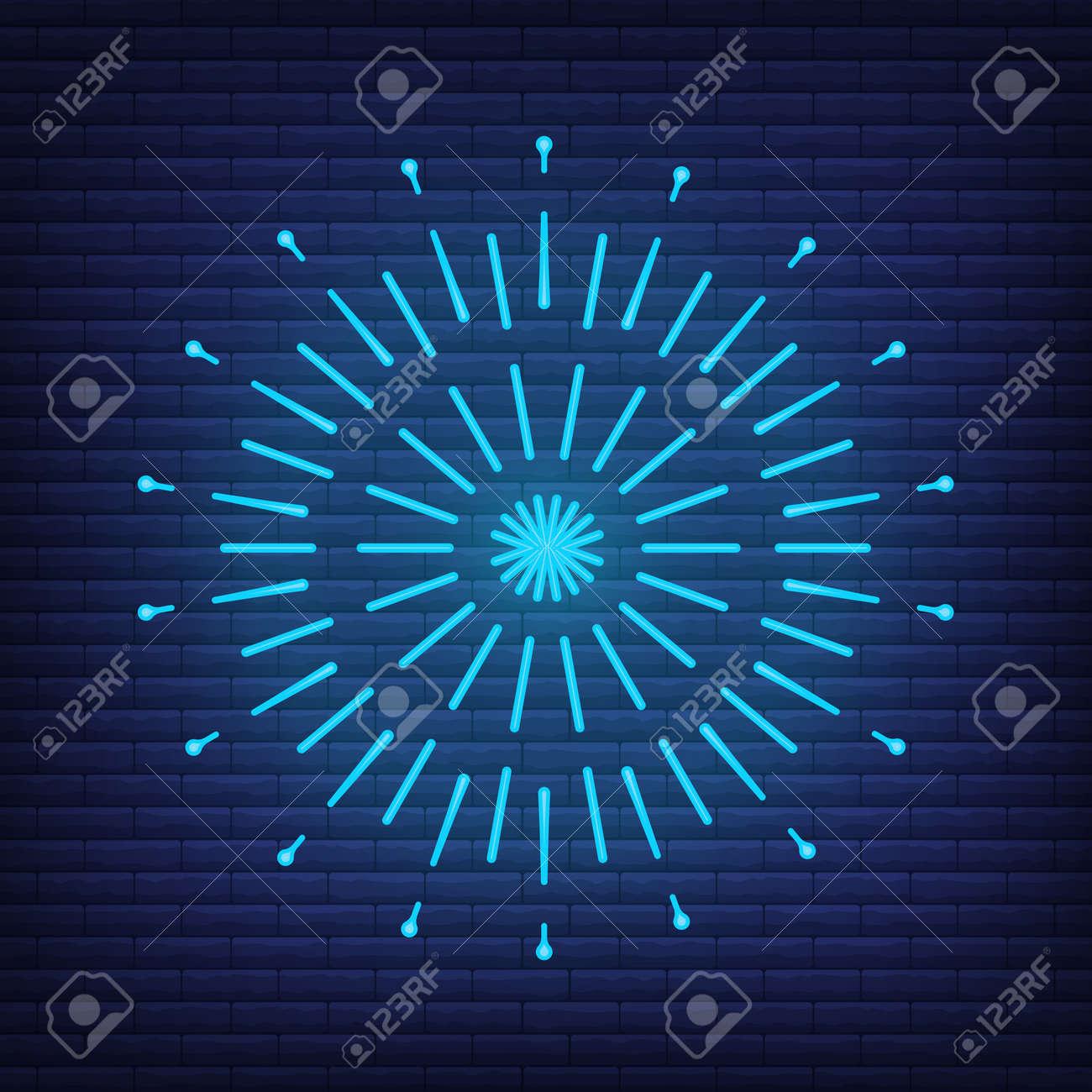 Retro design light sunburst neon style glow geometric shape, vintage rays sunlight explosion icon concept vector illustration, isolated on black wall. Minimal blue firework burst label, sunbeam badge. - 168394810