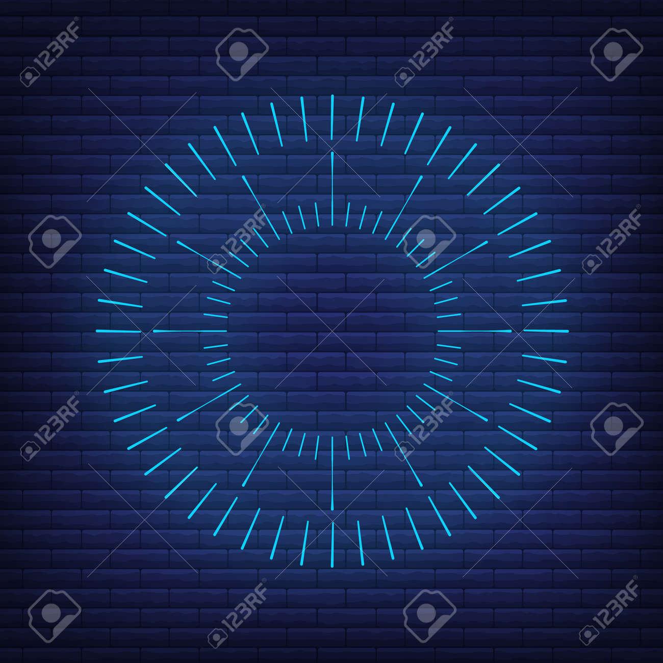 Retro design light sunburst neon style glow geometric shape, vintage rays sunlight explosion icon concept vector illustration, isolated on black wall. Minimal blue firework burst label, sunbeam badge. - 168394811