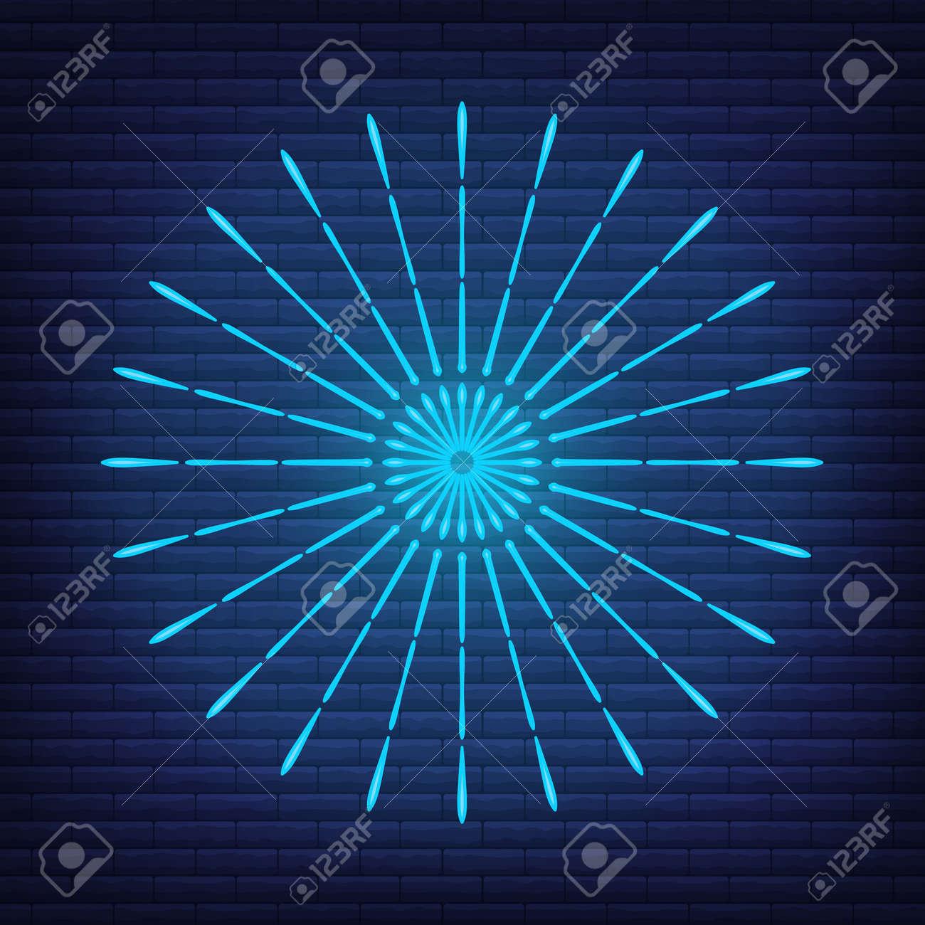 Retro design light sunburst neon style glow geometric shape, vintage rays sunlight explosion icon concept vector illustration, isolated on black wall. Minimal blue firework burst label, sunbeam badge. - 168394818