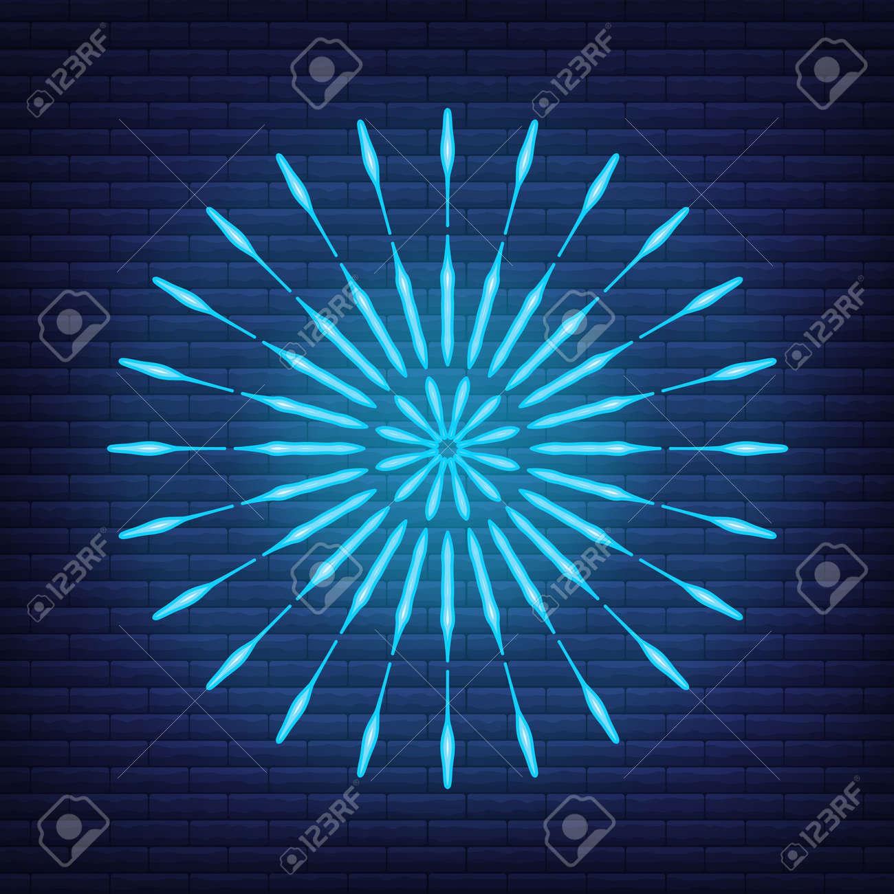 Retro design light sunburst neon style glow geometric shape, vintage rays sunlight explosion icon concept vector illustration, isolated on black wall. Minimal blue firework burst label, sunbeam badge. - 168394840