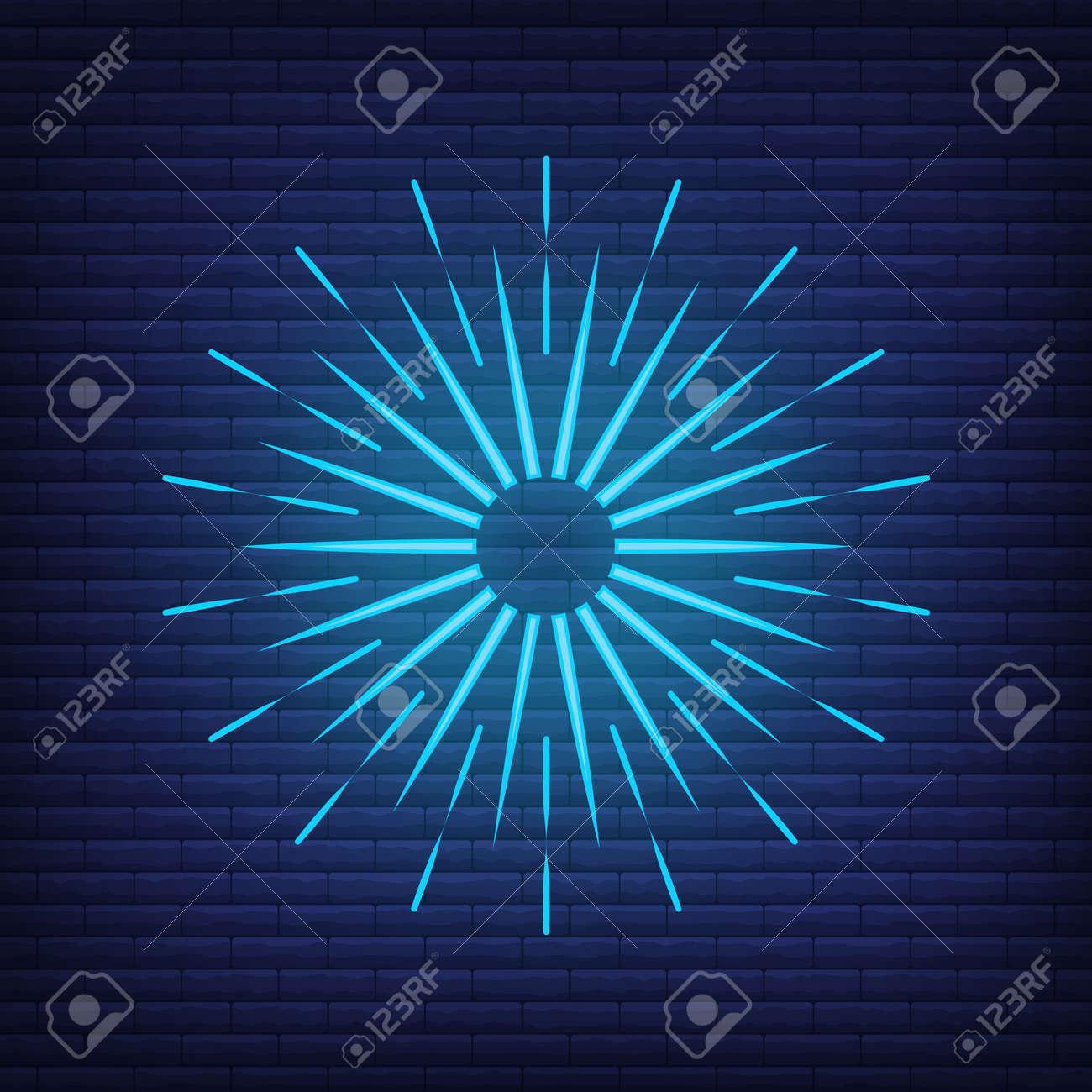 Retro design light sunburst neon style glow geometric shape, vintage rays sunlight explosion icon concept vector illustration, isolated on black wall. Minimal blue firework burst label, sunbeam badge. - 168394844