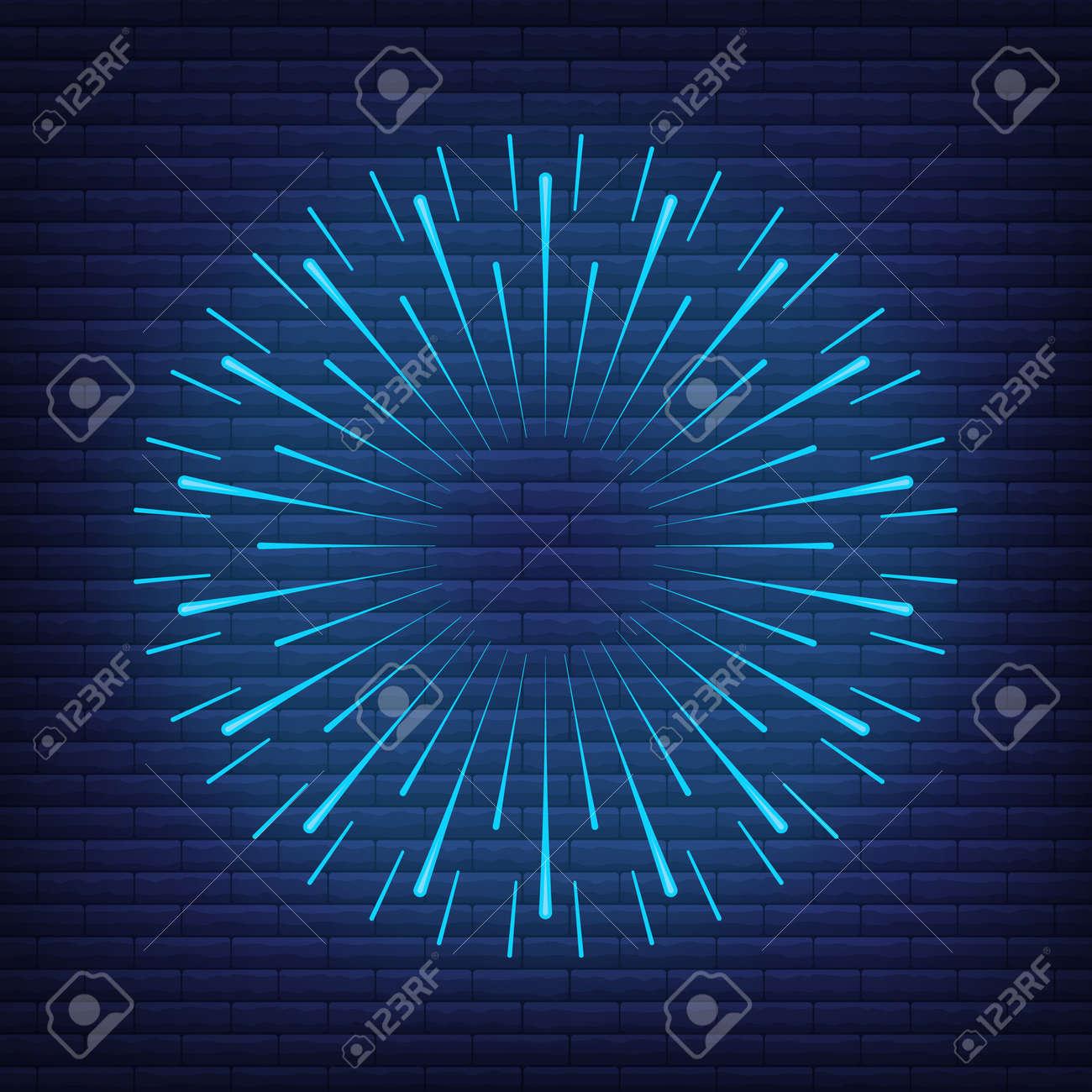 Retro design light sunburst neon style glow geometric shape, vintage rays sunlight explosion icon concept vector illustration, isolated on black wall. Minimal blue firework burst label, sunbeam badge. - 168394851