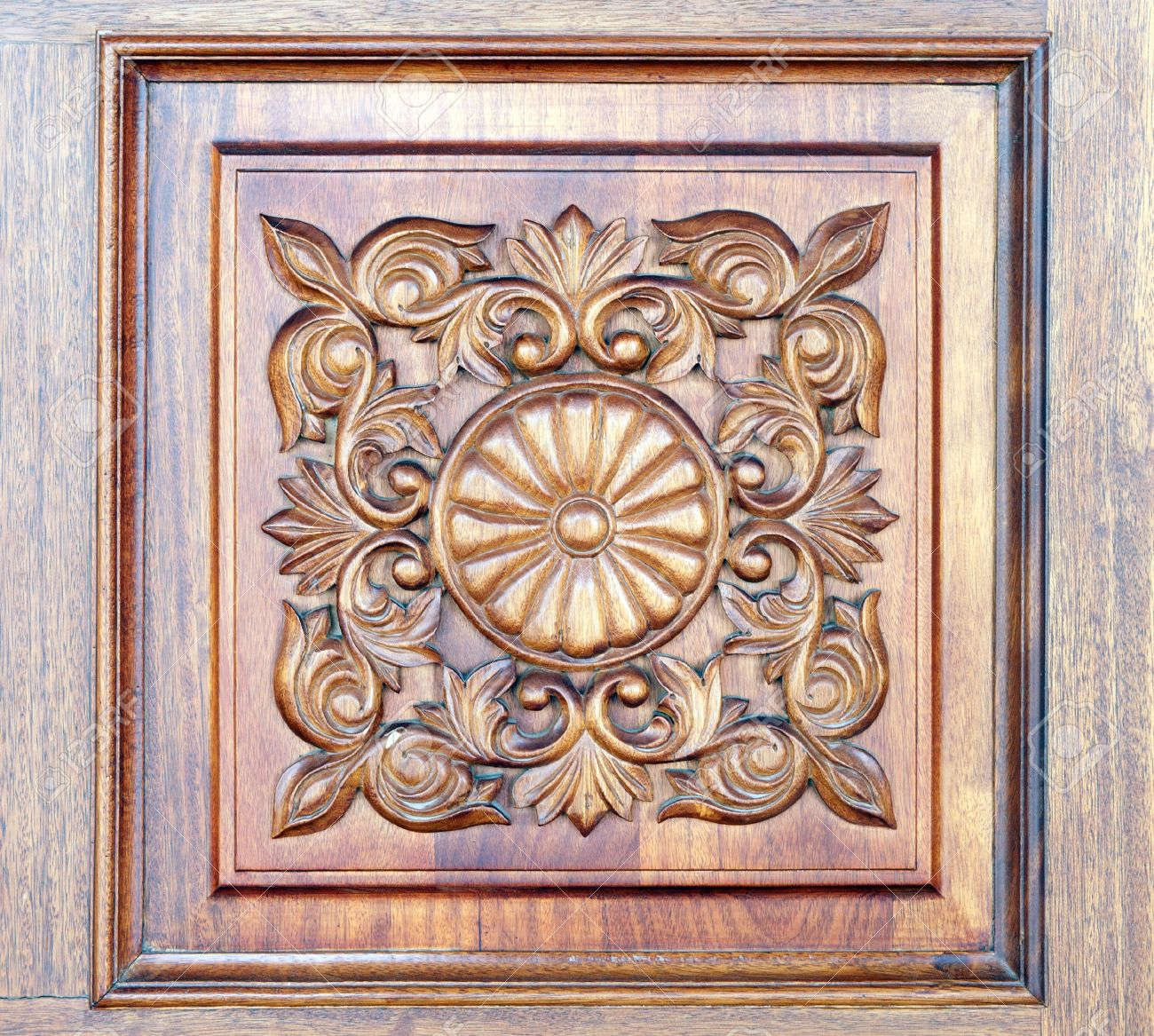 Square old styled carved wooden ornament stock photo picture and