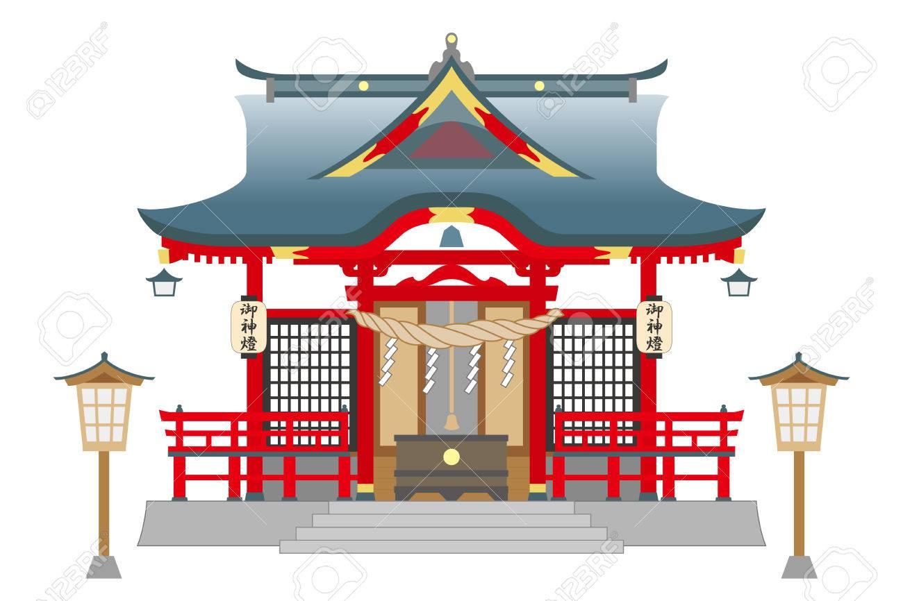 白い背景に分離された神社で