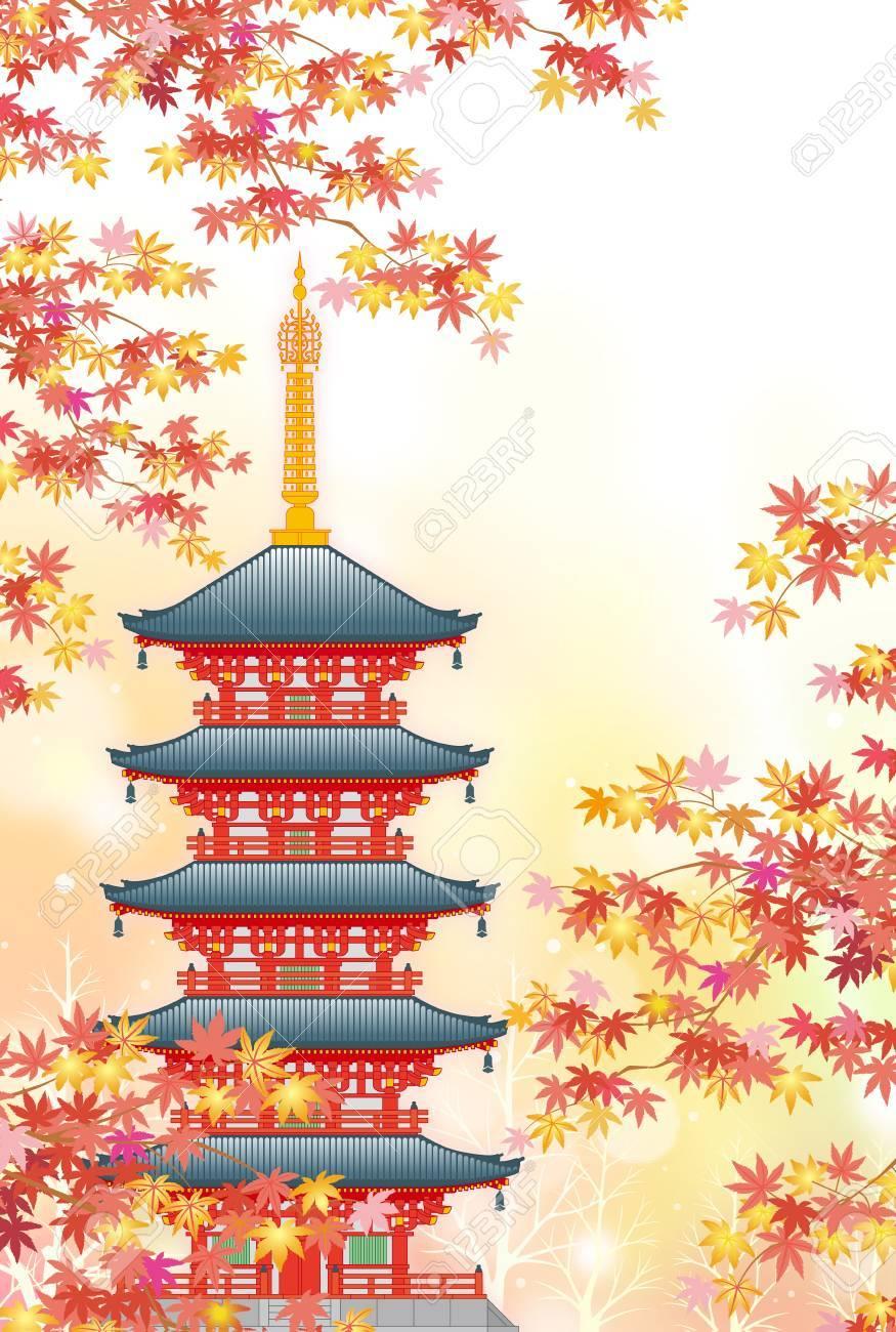 秋の五重塔のイラスト素材ベクタ Image 85359327