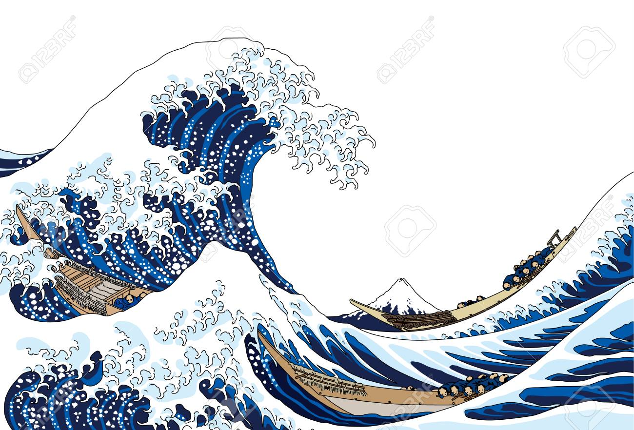 The great wave, isolated on white background. - 101000452