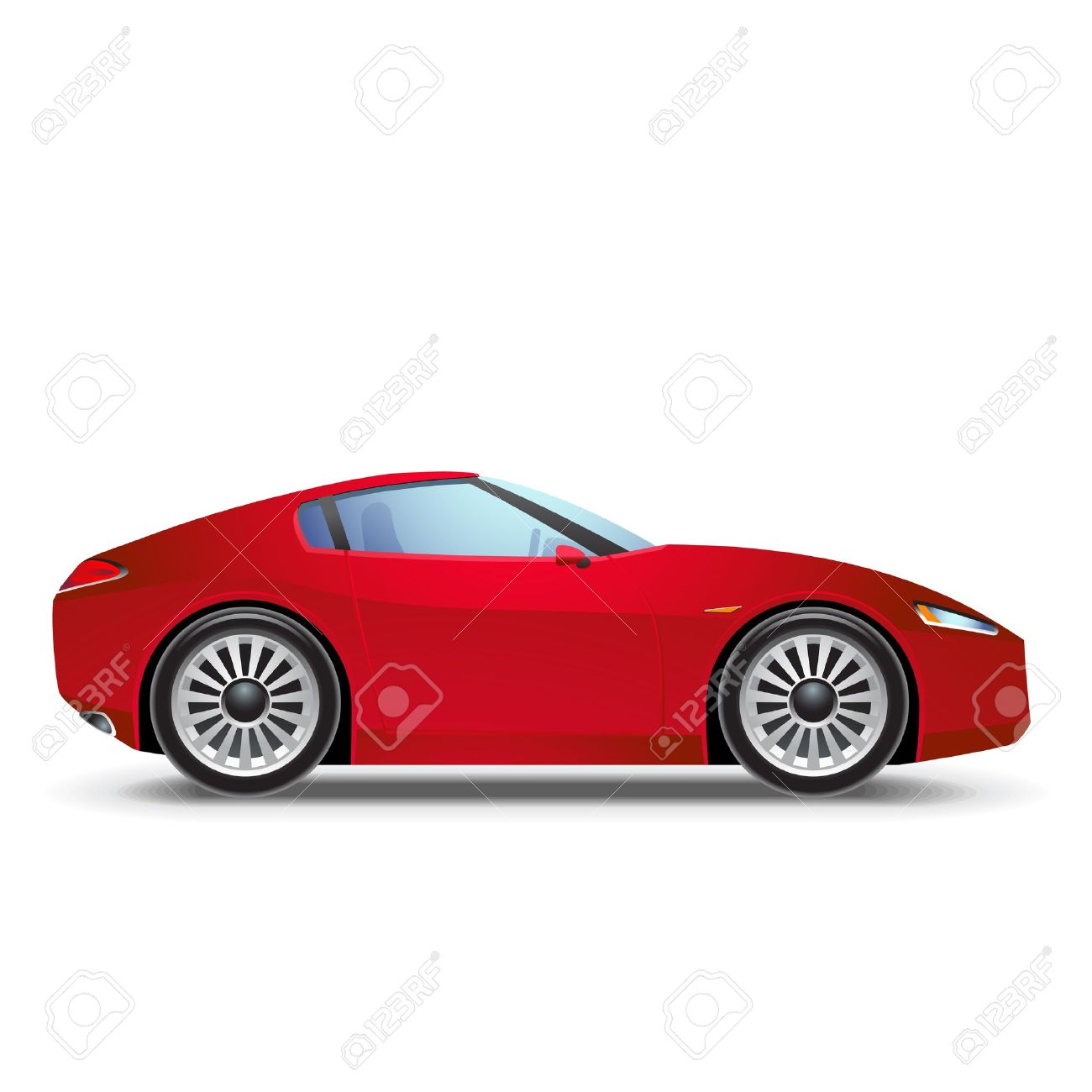 Red Sport car icon  car   Race Car Side View Clipart