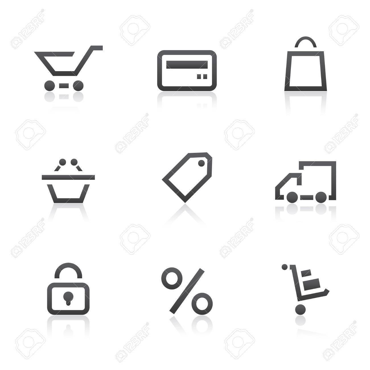 Shopping icons set Stock Vector - 12885170
