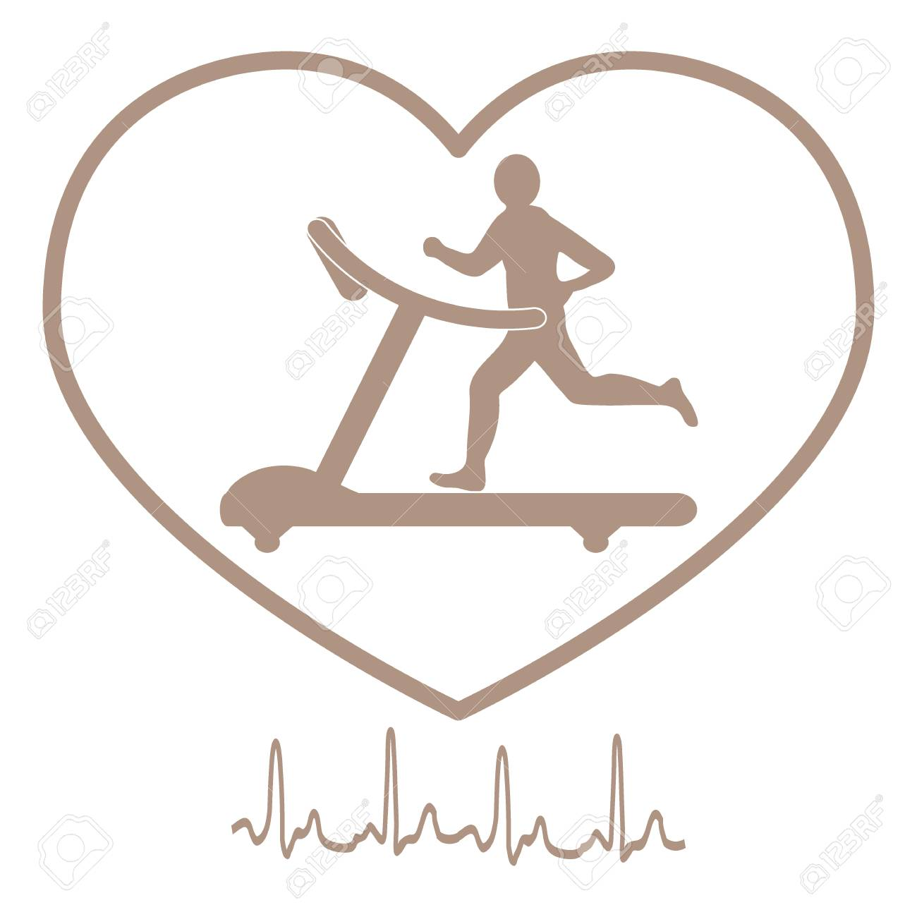 Stylized icon of the man jogging on a treadmill within the heart stylized icon of the man jogging on a treadmill within the heart icon and heart rhythm biocorpaavc Images