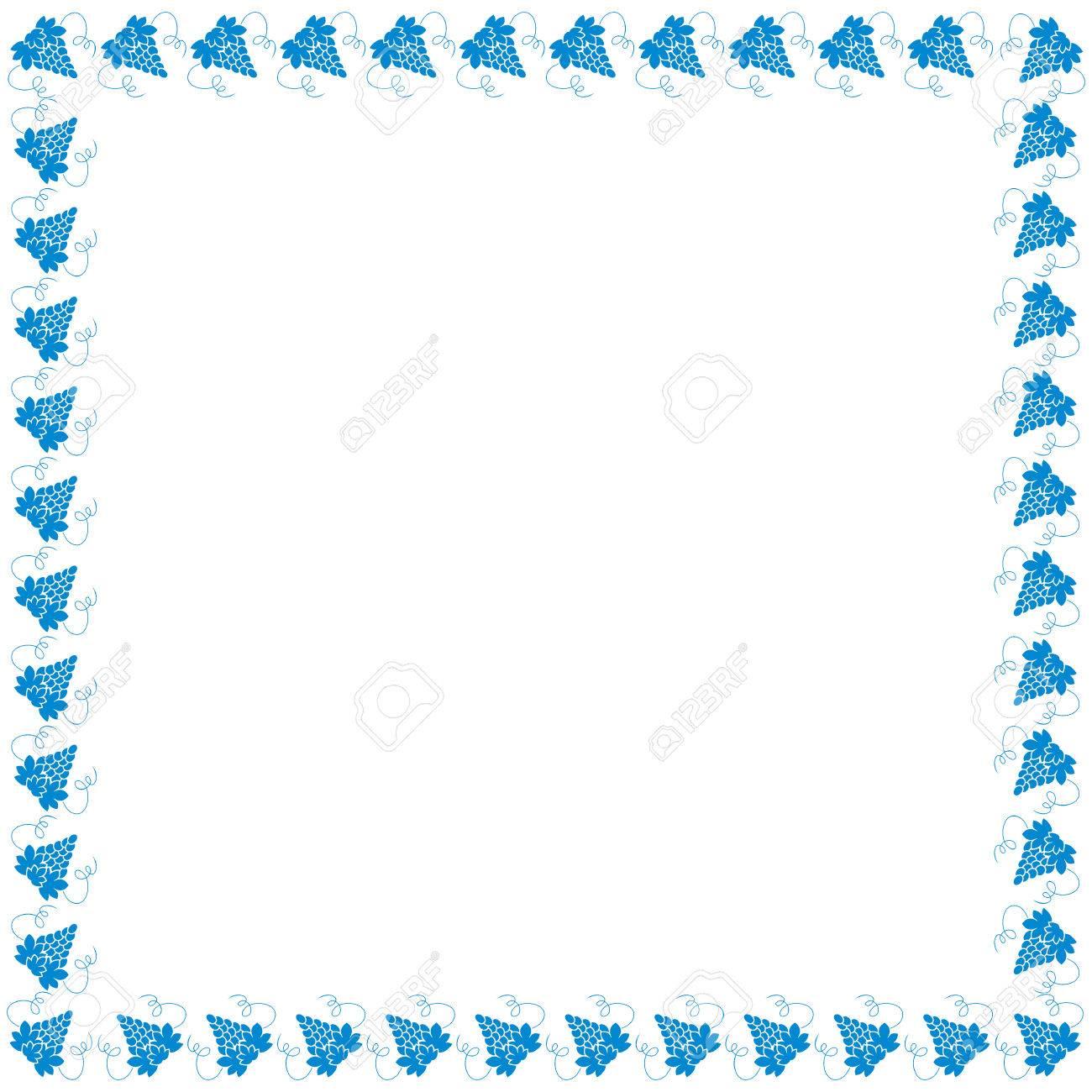 Netter Rahmen Von Farbigen Trauben In Einem Quadrat Auf Weißem ...