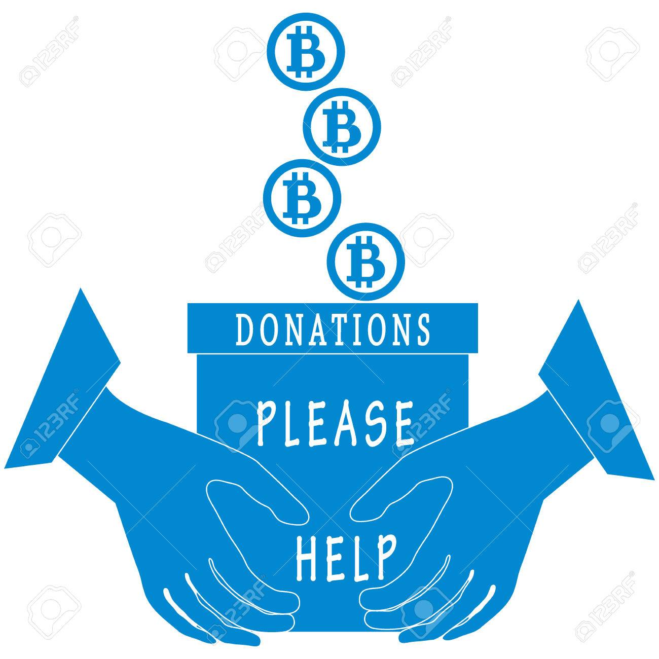 stylized icon calling to make a donation bitcoins are poured