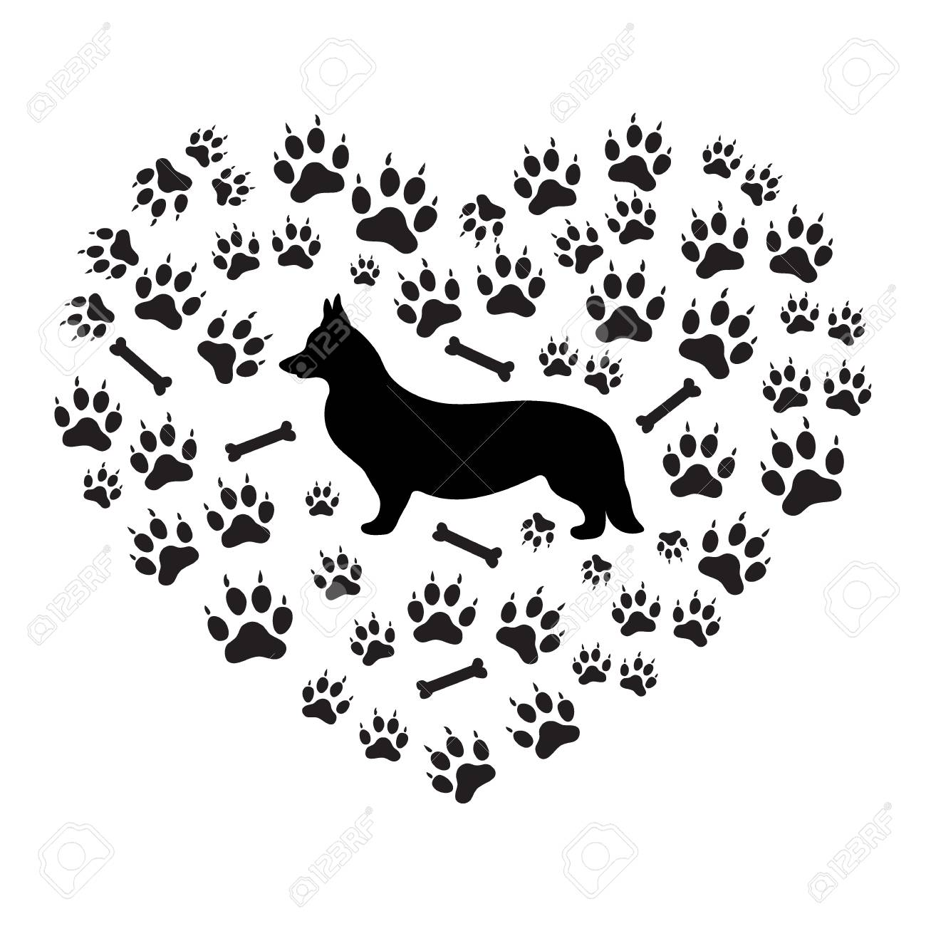 Nice picture of Welsh Corgi Pembroke silhouette on a background of dog tracks and bones in the form of heart on a white background. - 64556945
