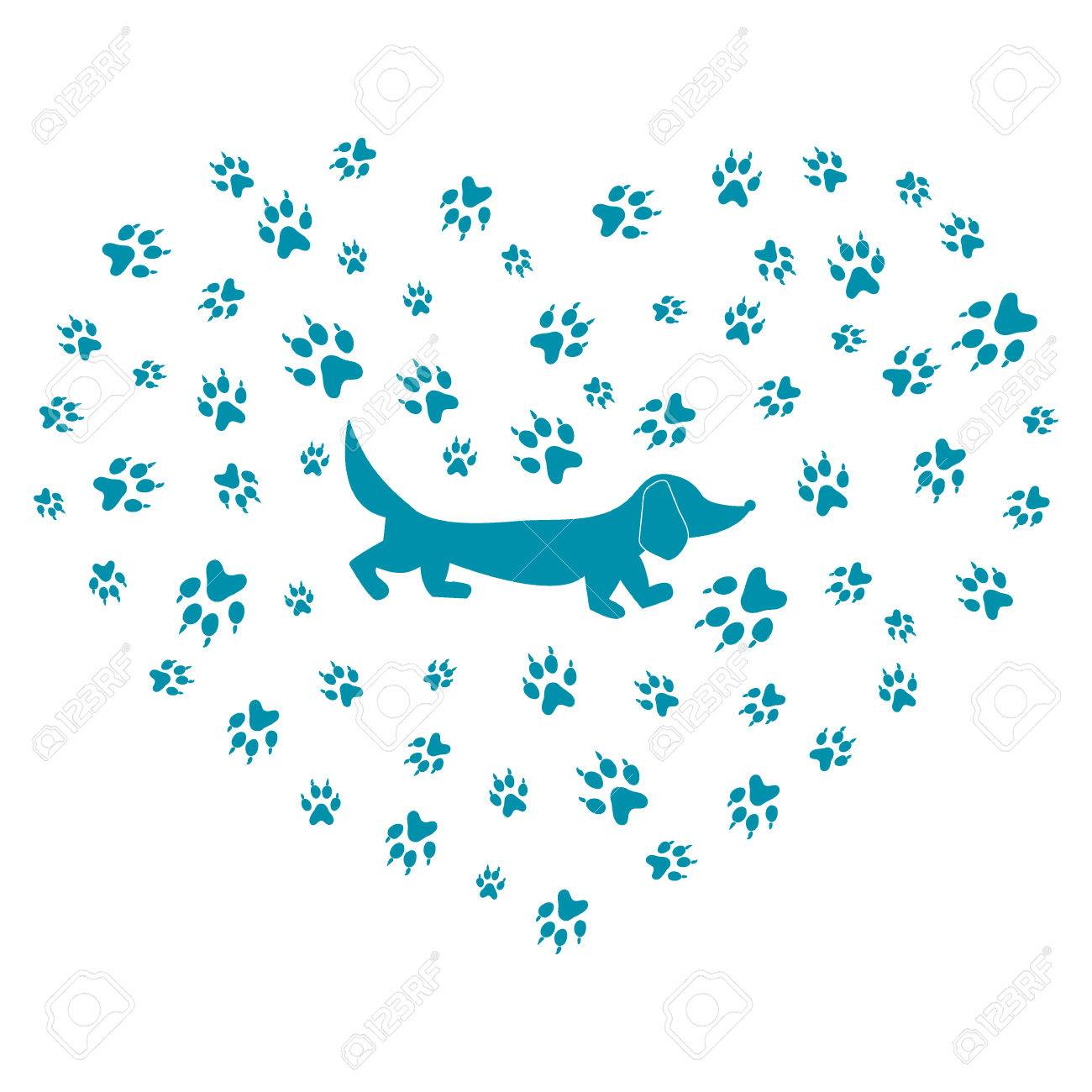 Nice Picture Of Dachshund Silhouette On A Background Dog Tracks In The Form Heart
