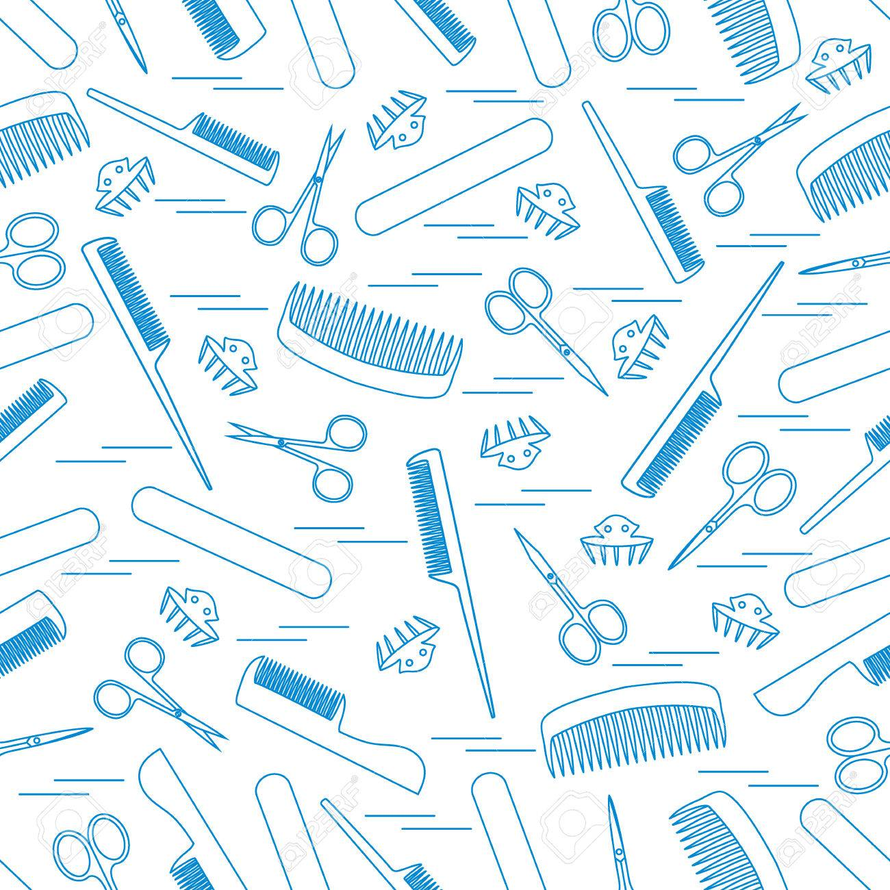 Cute pattern of scissors for manicure and pedicure, combs, nail file, barrettes. Design for banner, flyer, poster or print. - 67259019