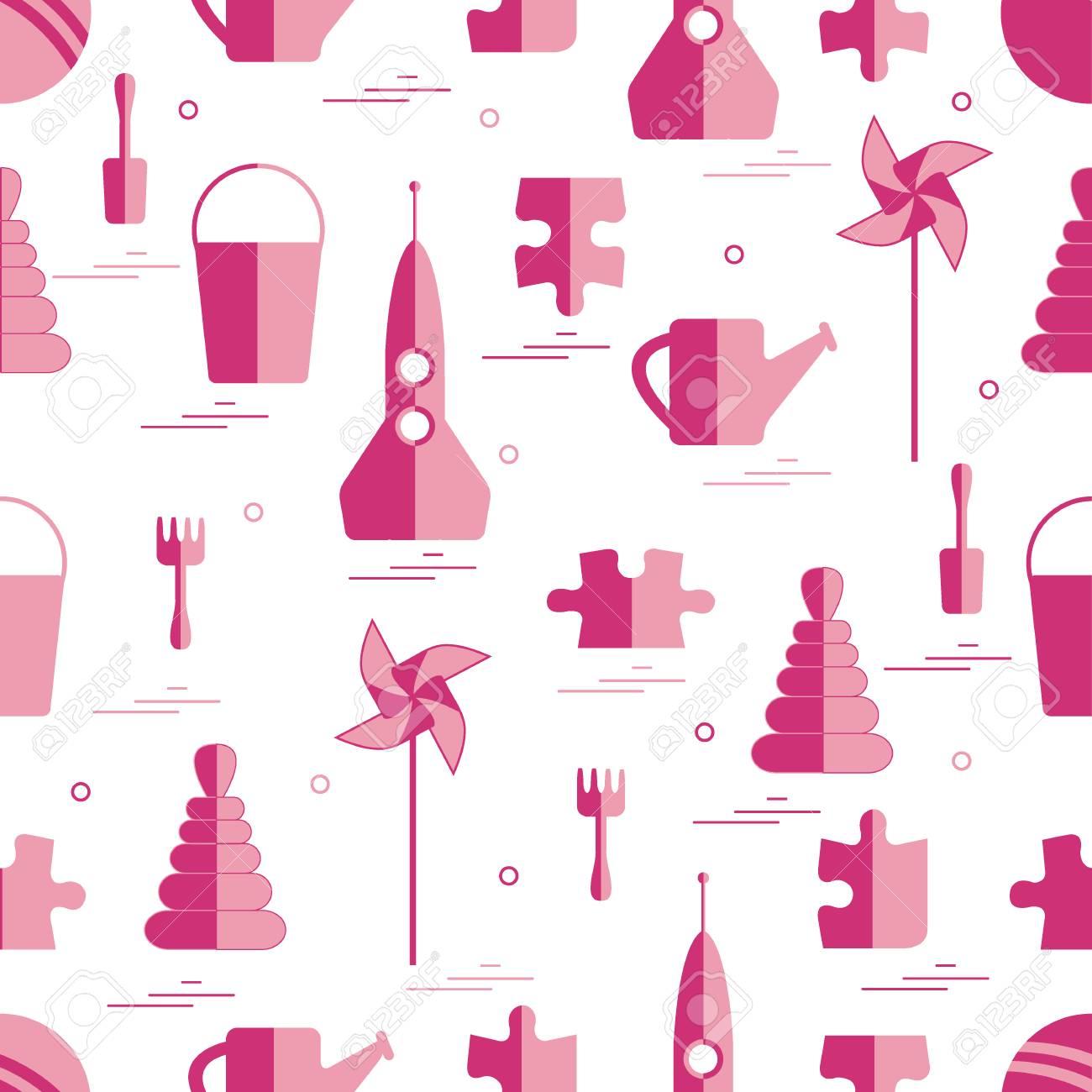 muster von verschiedenen kinderspielzeugobjekten rakete puzzlespiel eimer schaufel rhrstange giekanne - Puzzle Muster