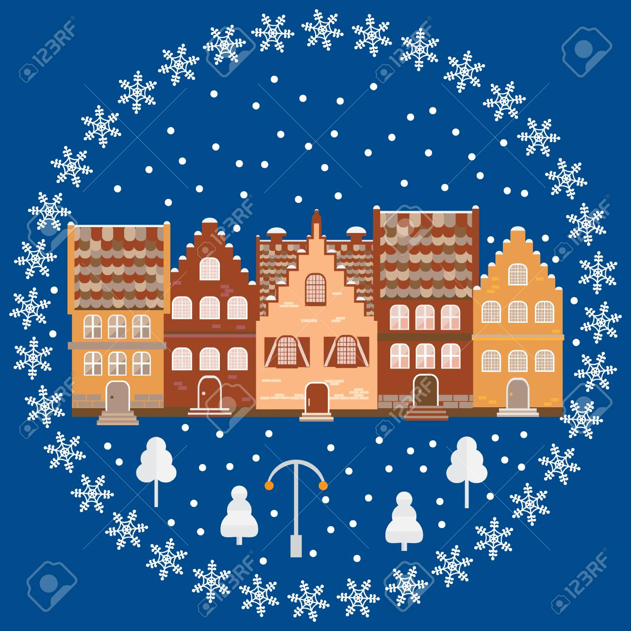Illustration Houses In The Snow. Design Element For Postcard ...