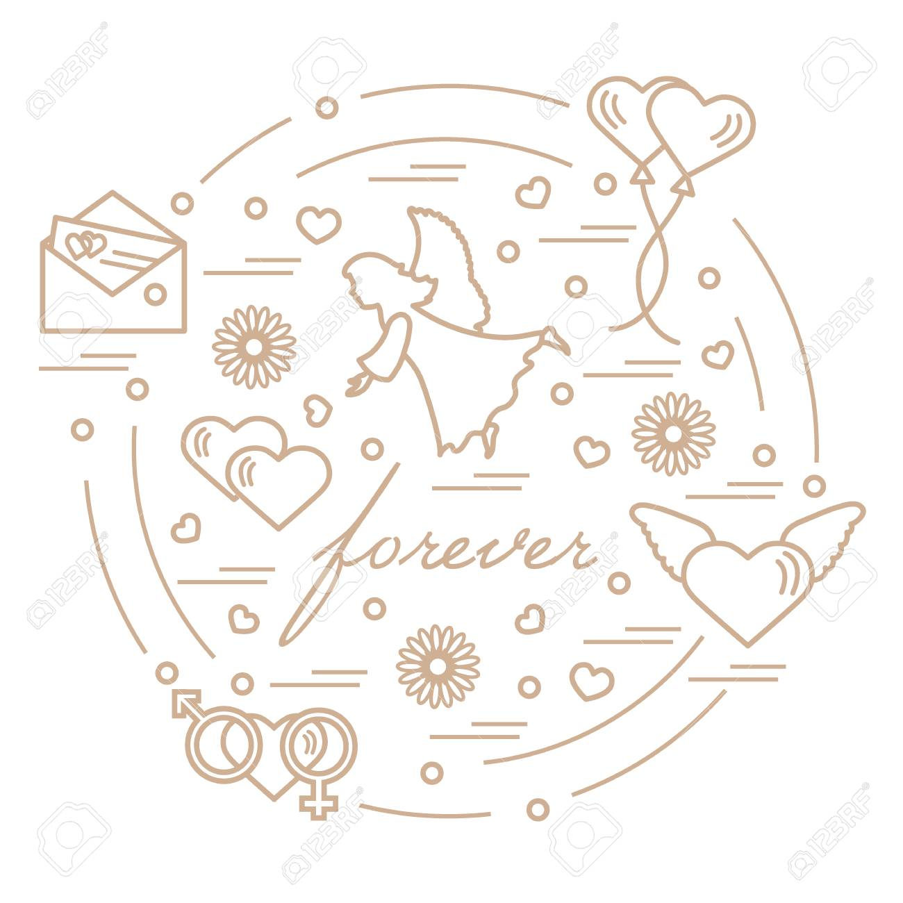 Cute vector illustration with different love symbols hearts cute vector illustration with different love symbols hearts air balloons postal envelope buycottarizona Images