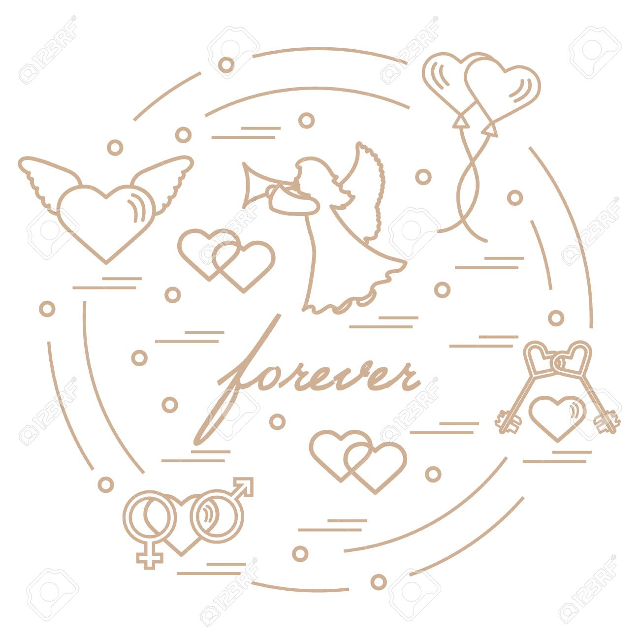 Cute vector illustration with different love symbols hearts cute vector illustration with different love symbols hearts air balloons key angel buycottarizona Images