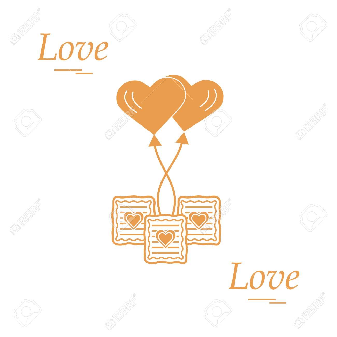 Cute Vector Illustration Of Love Symbols Heart Air Balloon Icon