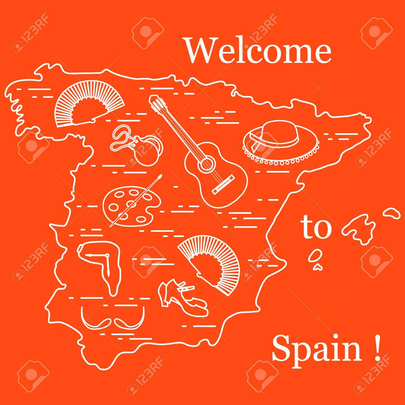 Vector illustration with various symbols of spain arranged in vector illustration with various symbols of spain arranged in a circle travel and leisure buycottarizona Images
