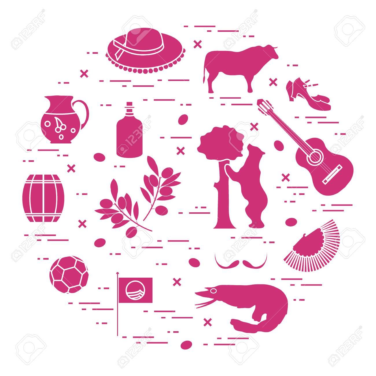 Vector illustration with various symbols of spain arranged in vector illustration with various symbols of spain arranged in a circle travel and leisure buycottarizona