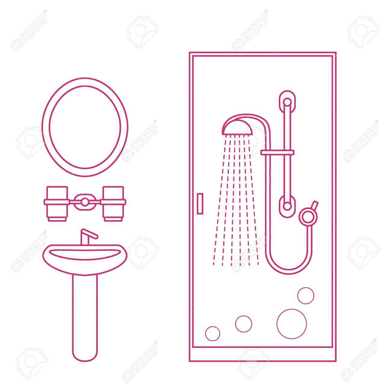 Probleme Humidite Salle De Bain ~ Illustration Vectorielle Mignonne Du Design D Int Rieur De La Salle