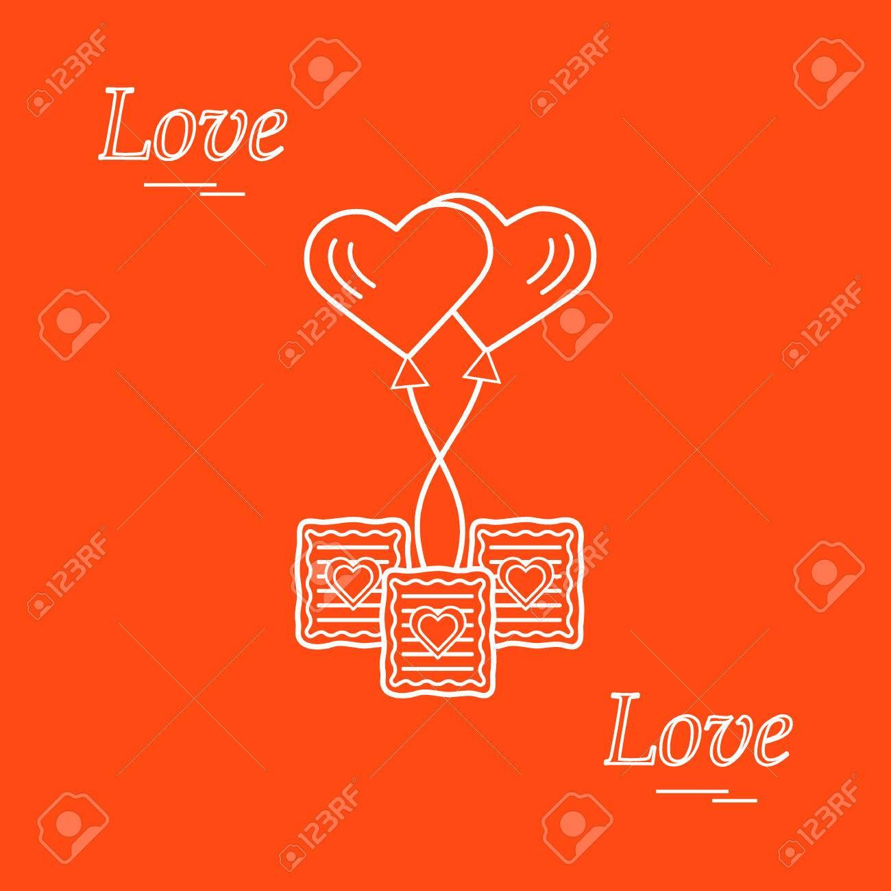 Cute vector illustration of love symbols heart air balloon icon cute vector illustration of love symbols heart air balloon icon and three cookies romantic buycottarizona Gallery