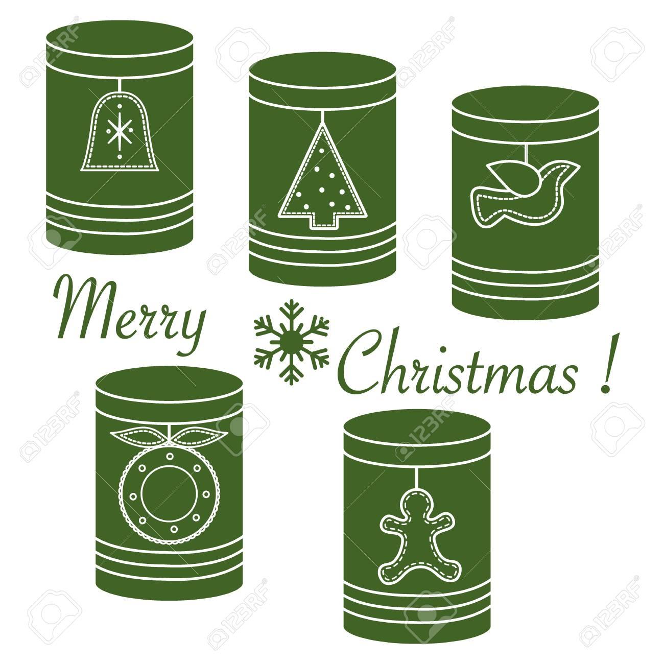 72c257079685 Foto de archivo - Frascos para diferentes productos con etiquetas de  Navidad y Año Nuevo  árbol de Navidad