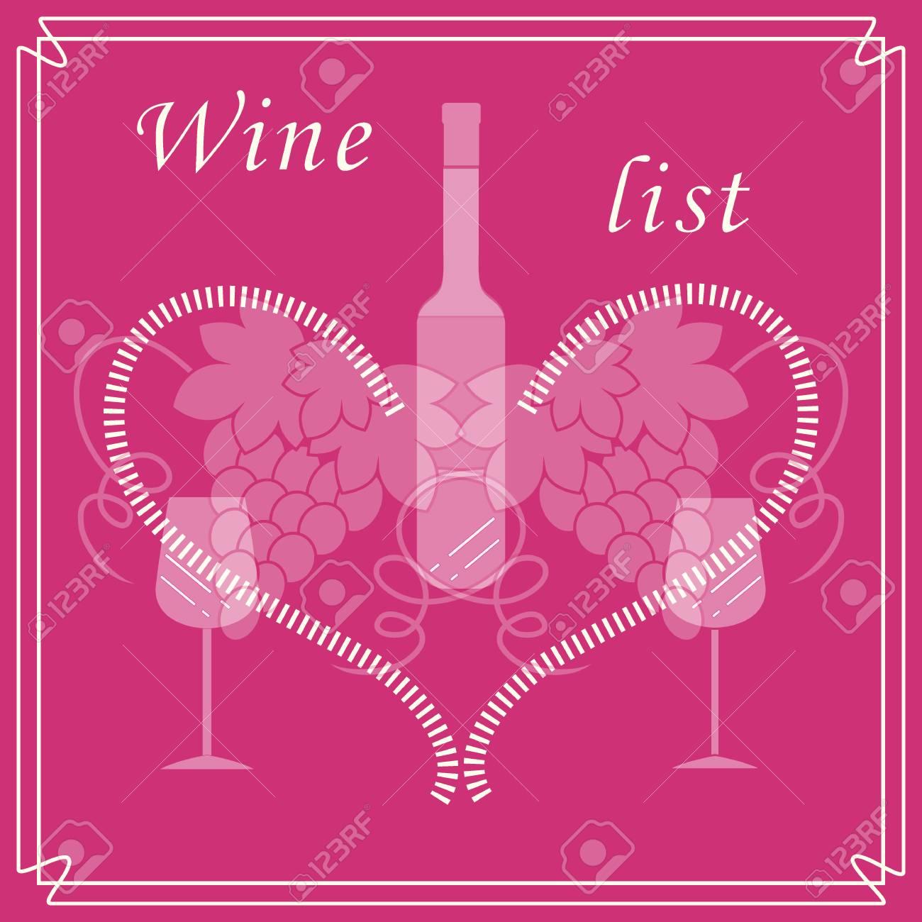 Nette Vektor-Illustration Von Flasche Wein, Gläser, Trauben Und Herz ...