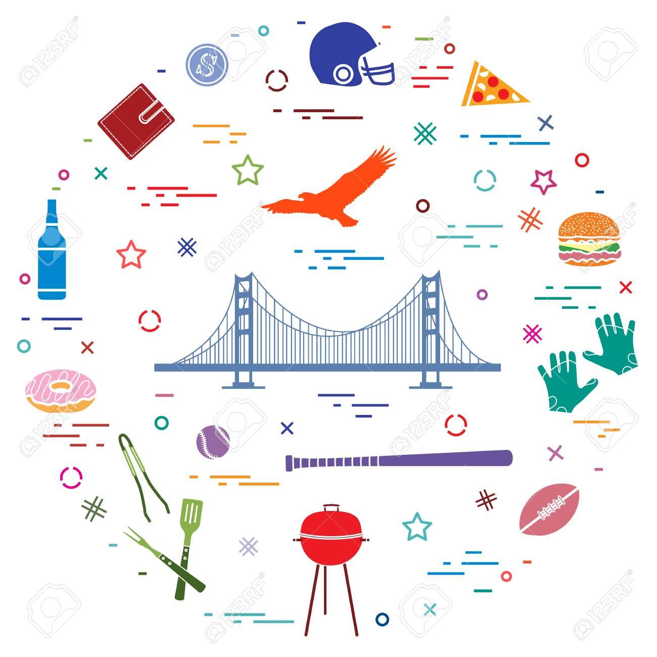 Symbols Of Usa Golden Gate Suspension Bridge And Soaring Eagle