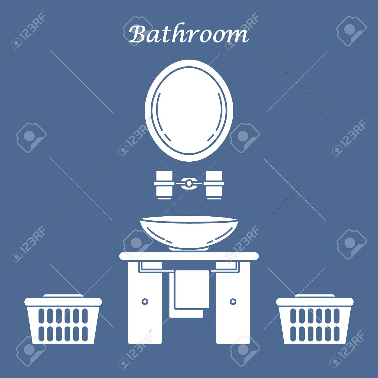 Cute Silhouette Illustration With Variety Bathroom Elements ...