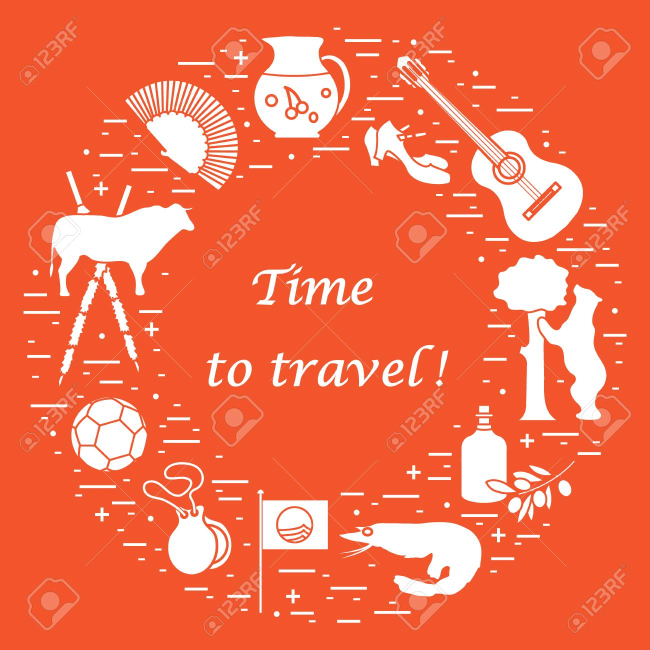 Vector illustration with various symbols of spain arranged in a vector illustration with various symbols of spain arranged in a circle travel and leisure buycottarizona Images